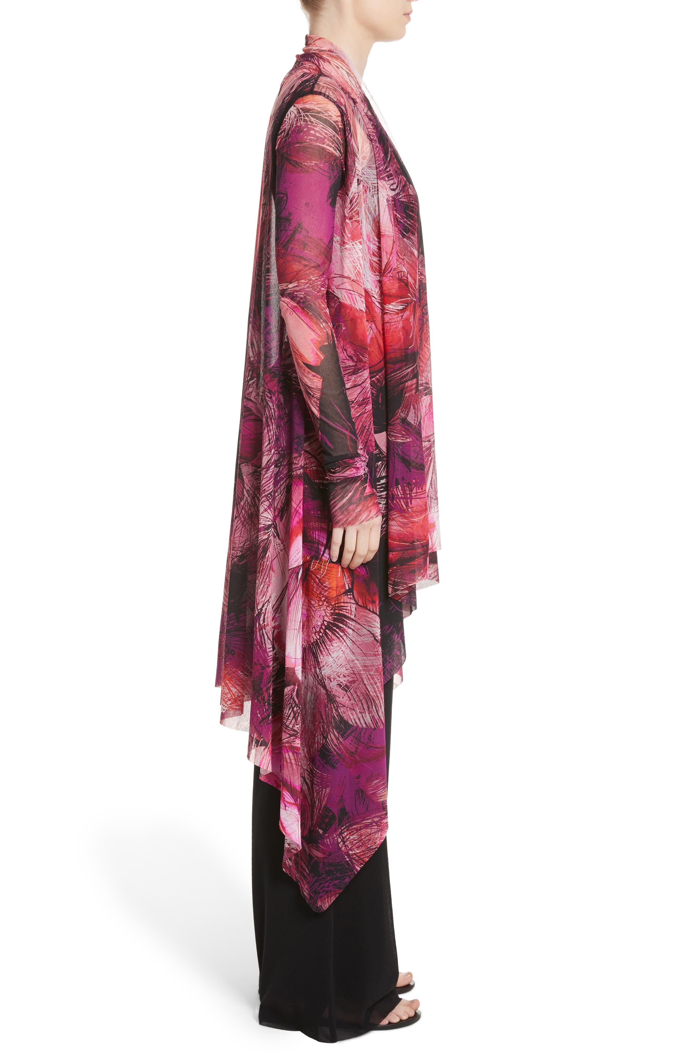 Print Tulle Waterfall Hem Cardigan,                             Alternate thumbnail 3, color,                             Pink/Purple