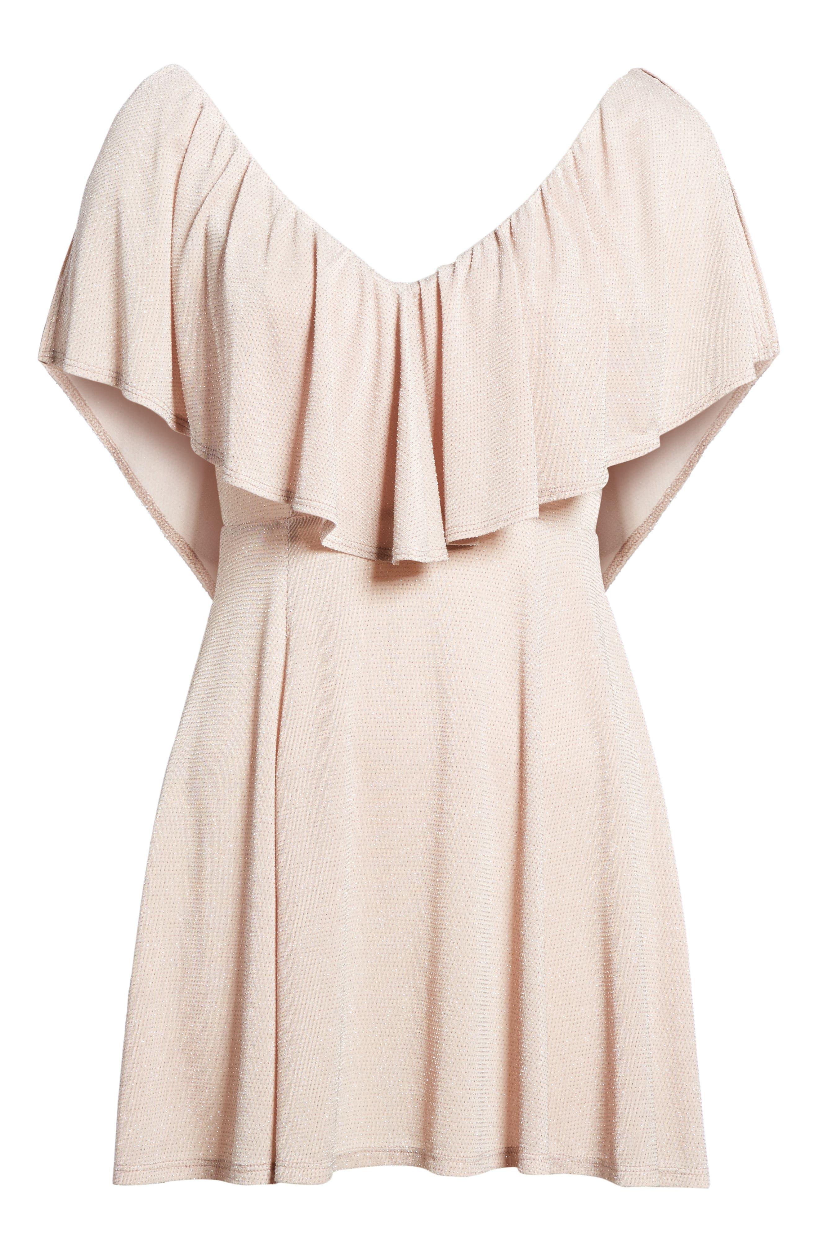 Daphne Ruffle Minidress,                             Alternate thumbnail 6, color,                             Dancing Queen Shine Blush