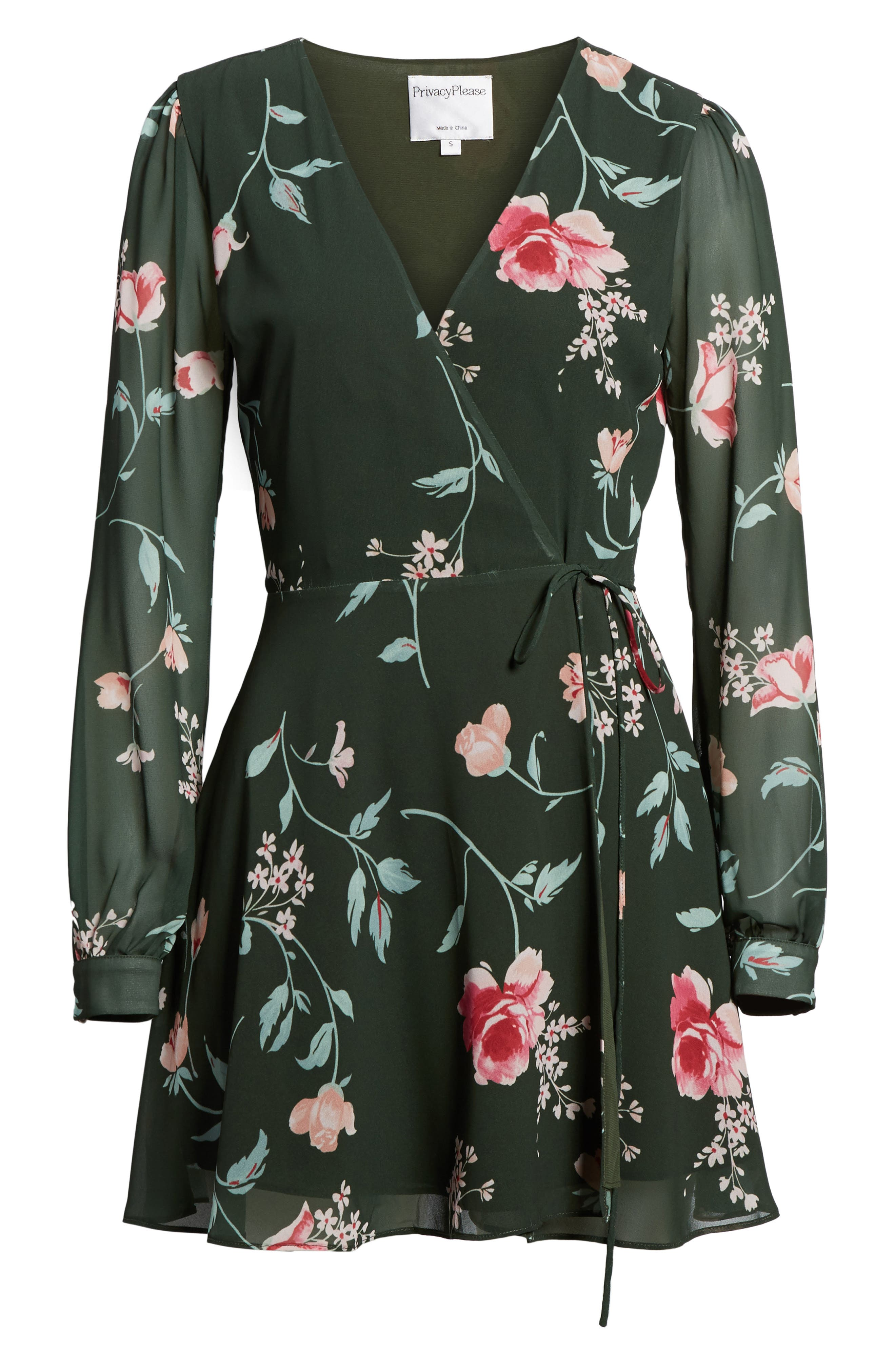 Castor Wrap Dress,                             Alternate thumbnail 6, color,                             Evergreen Floral