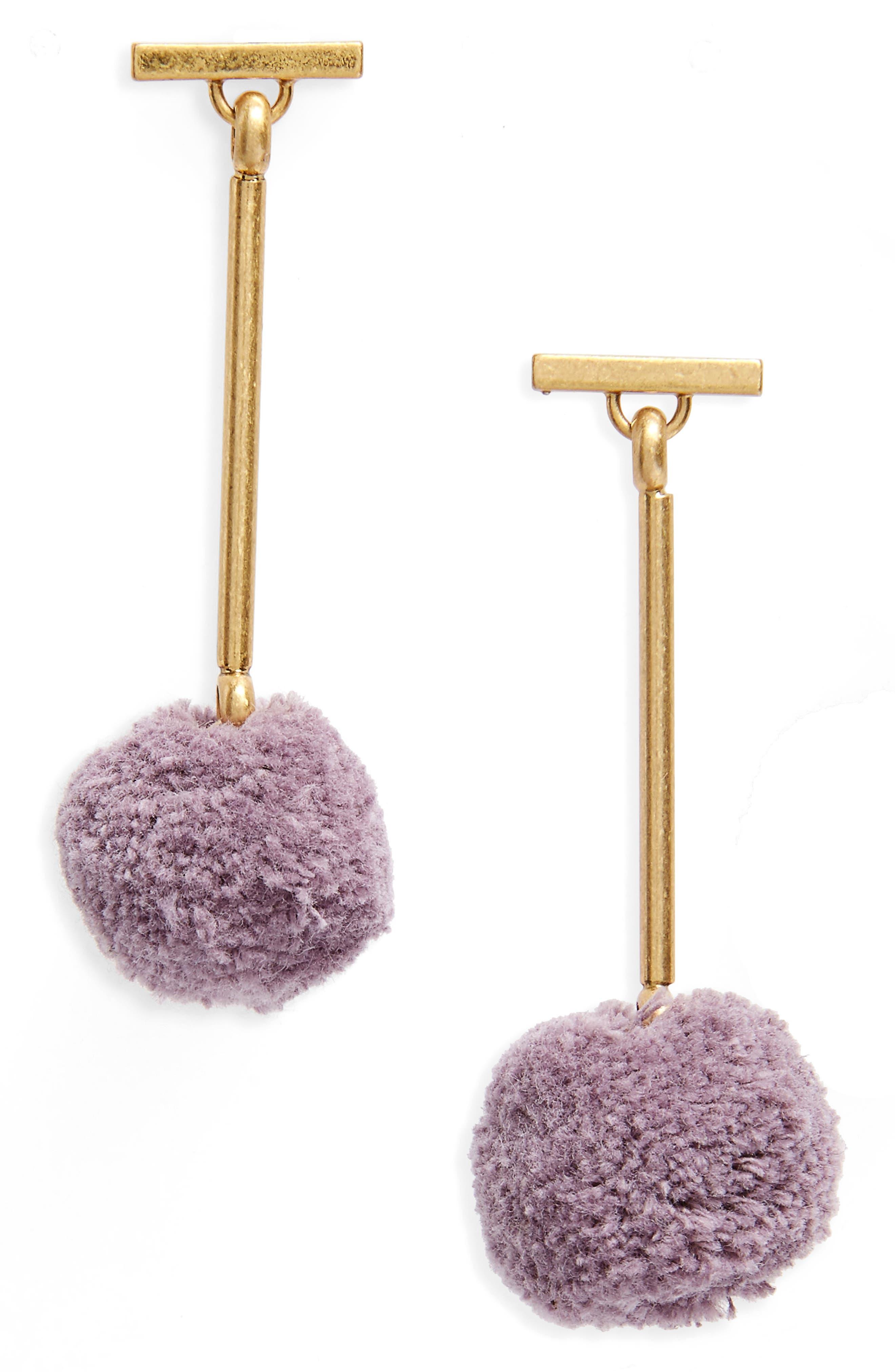 Pompom Drop Earrings,                         Main,                         color, Violet Dusk