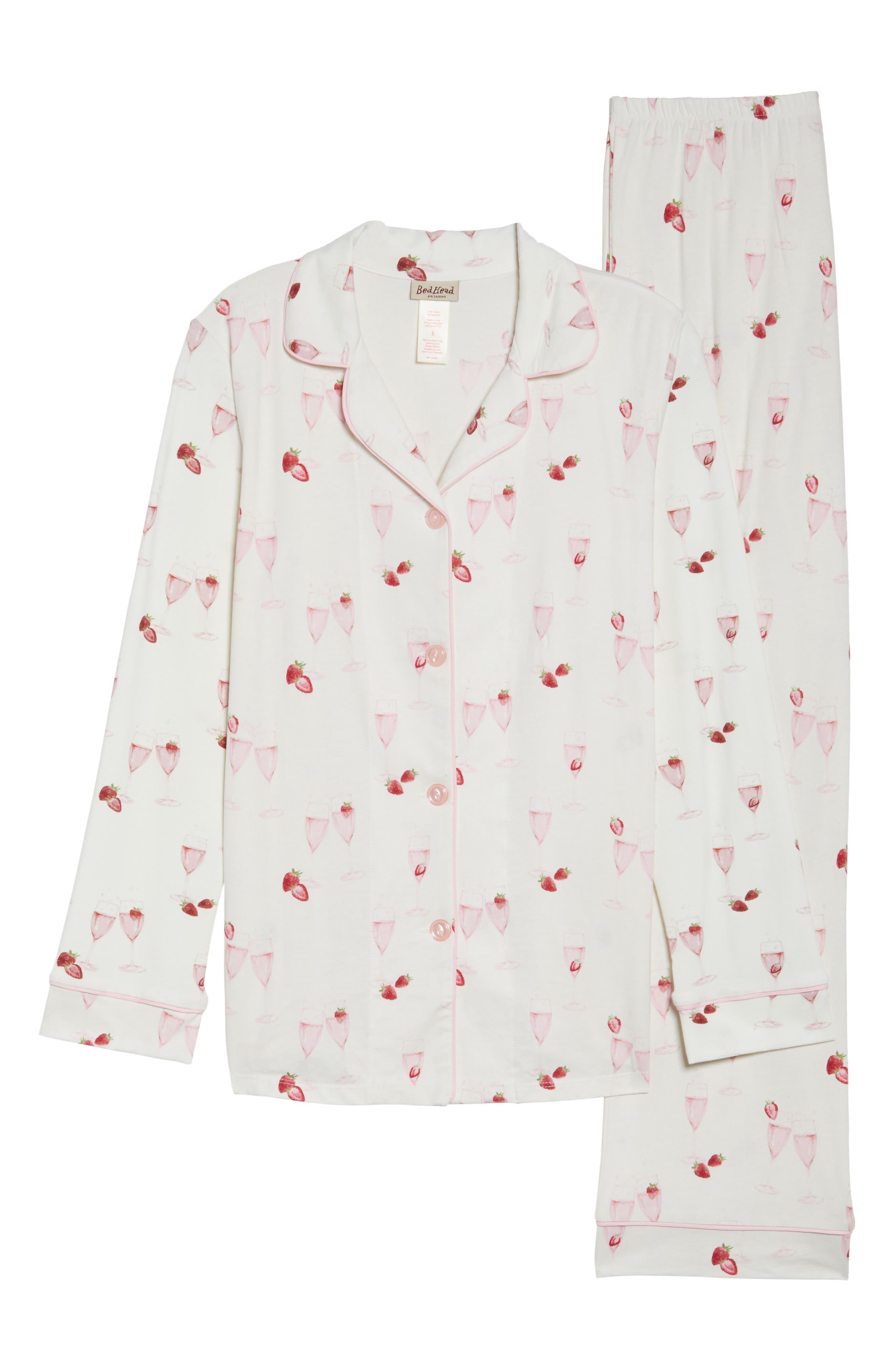 Strawberries & Champagne Print Pajamas,                             Alternate thumbnail 4, color,                             Strawberries And Champagne