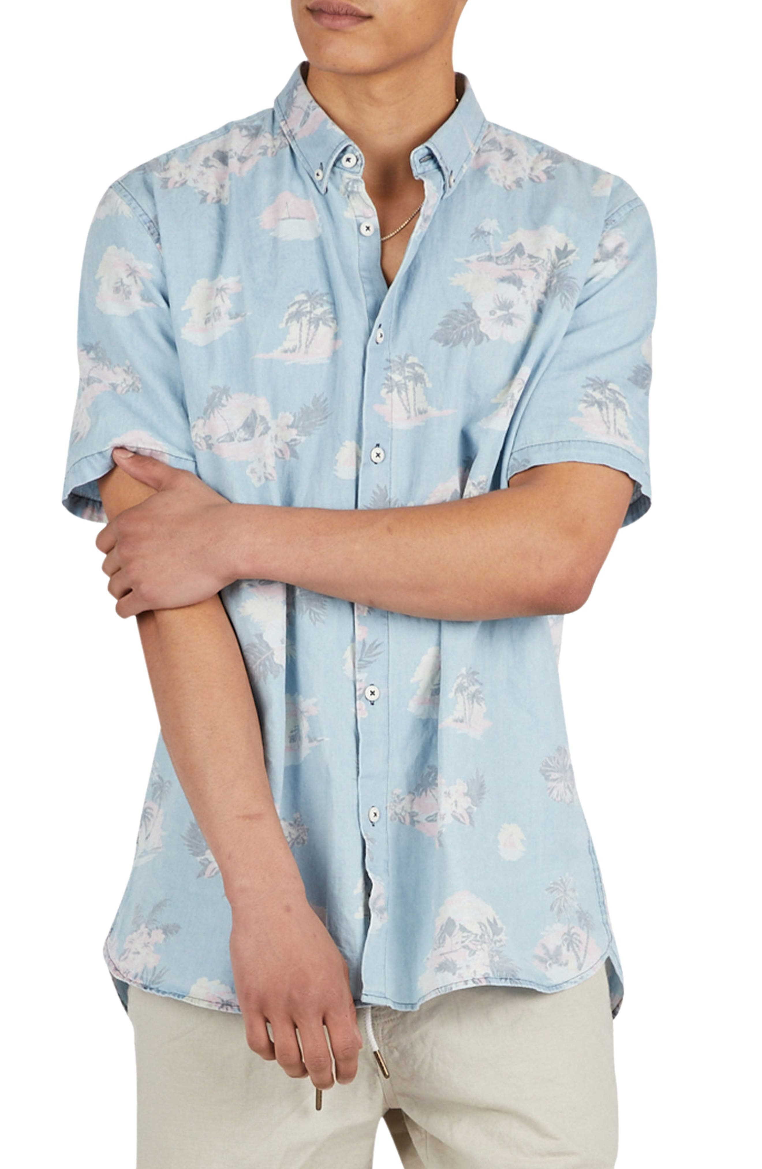 Tropical Print Woven Shirt,                             Alternate thumbnail 5, color,                             Indigo/ Floral