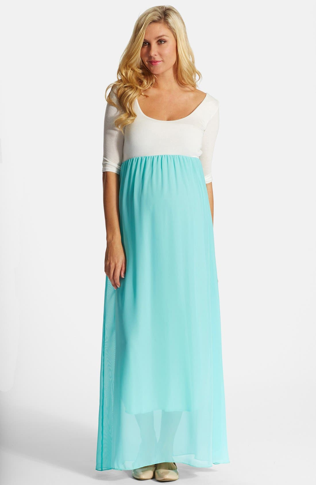 Main Image - PinkBlush Colorblock Maternity Maxi Dress