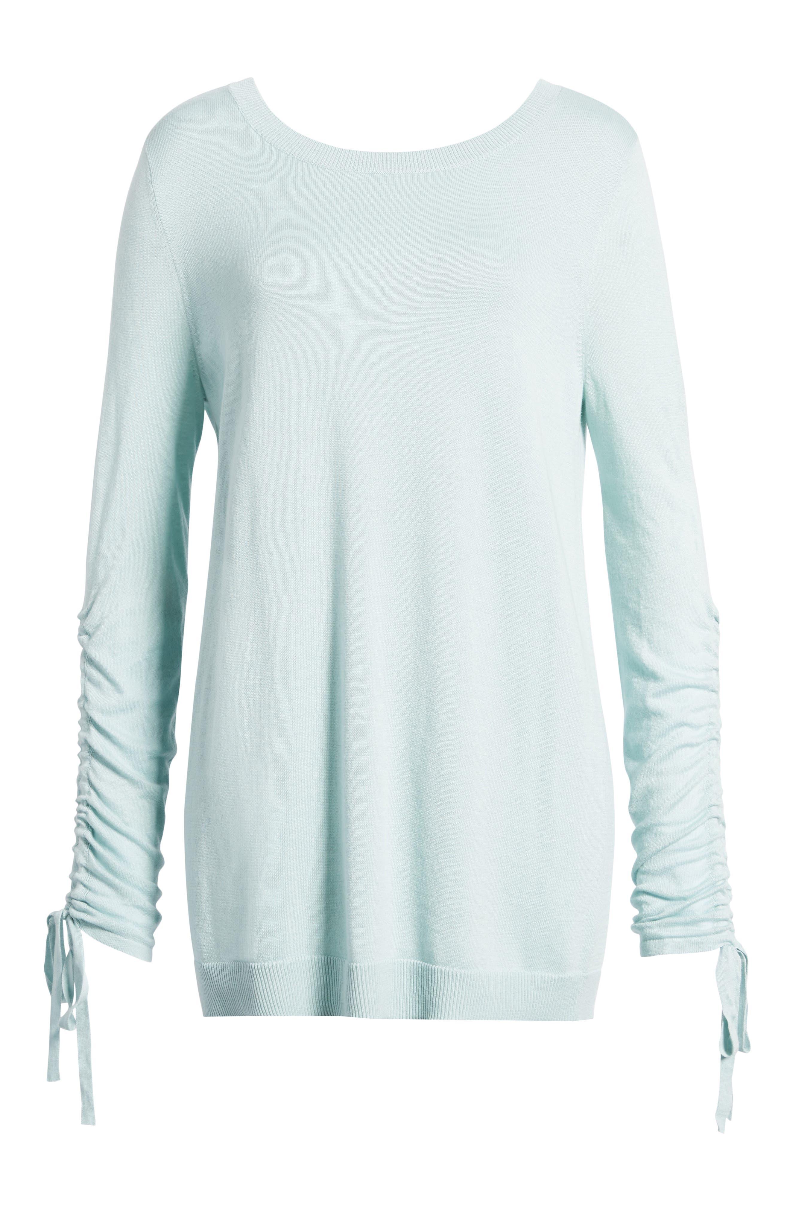 Alternate Image 6  - Halogen® Ruched Sleeve Tunic Sweater (Regular & Petite)