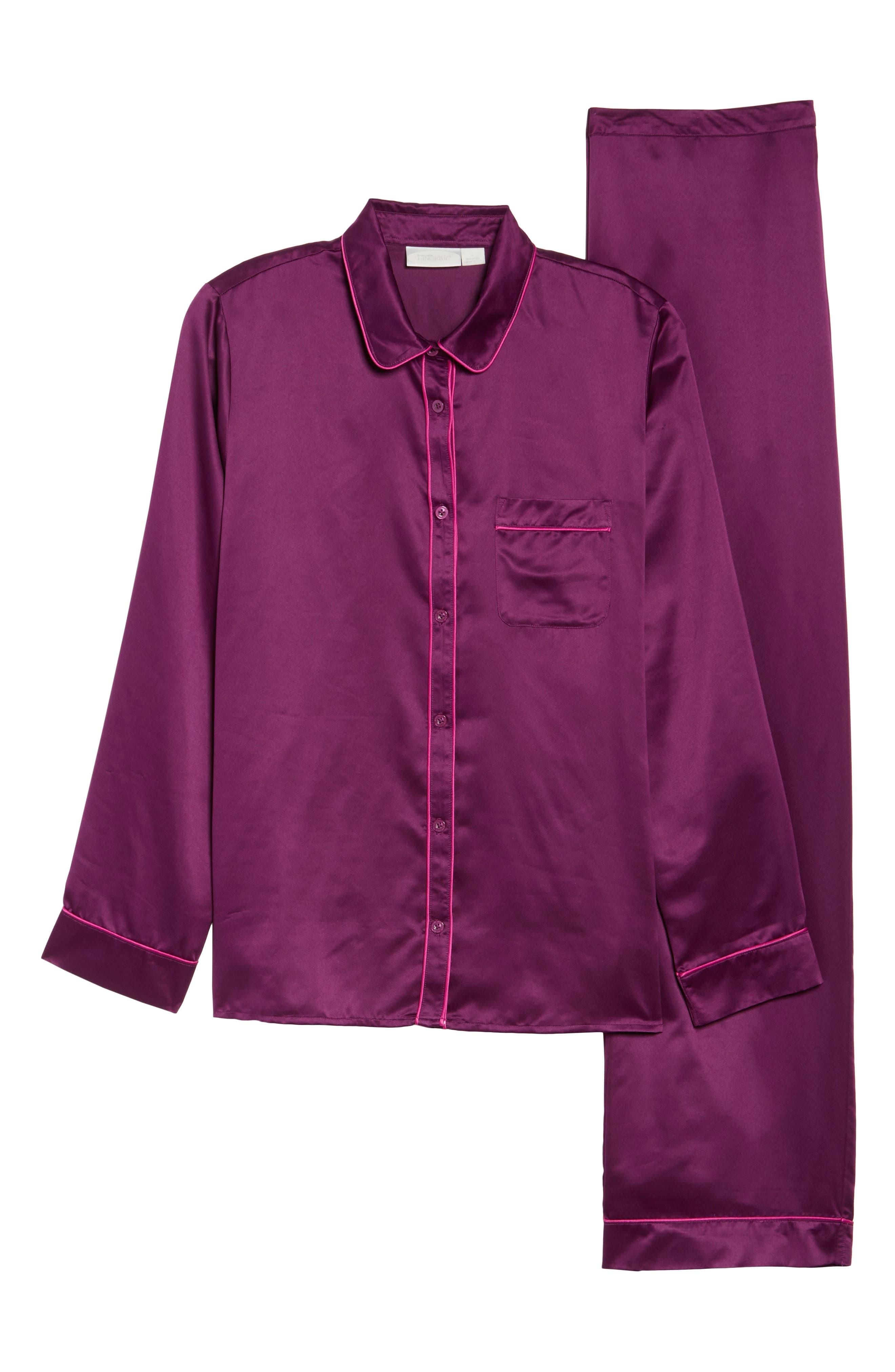 Satin Pajamas,                             Alternate thumbnail 6, color,                             Purple Dark