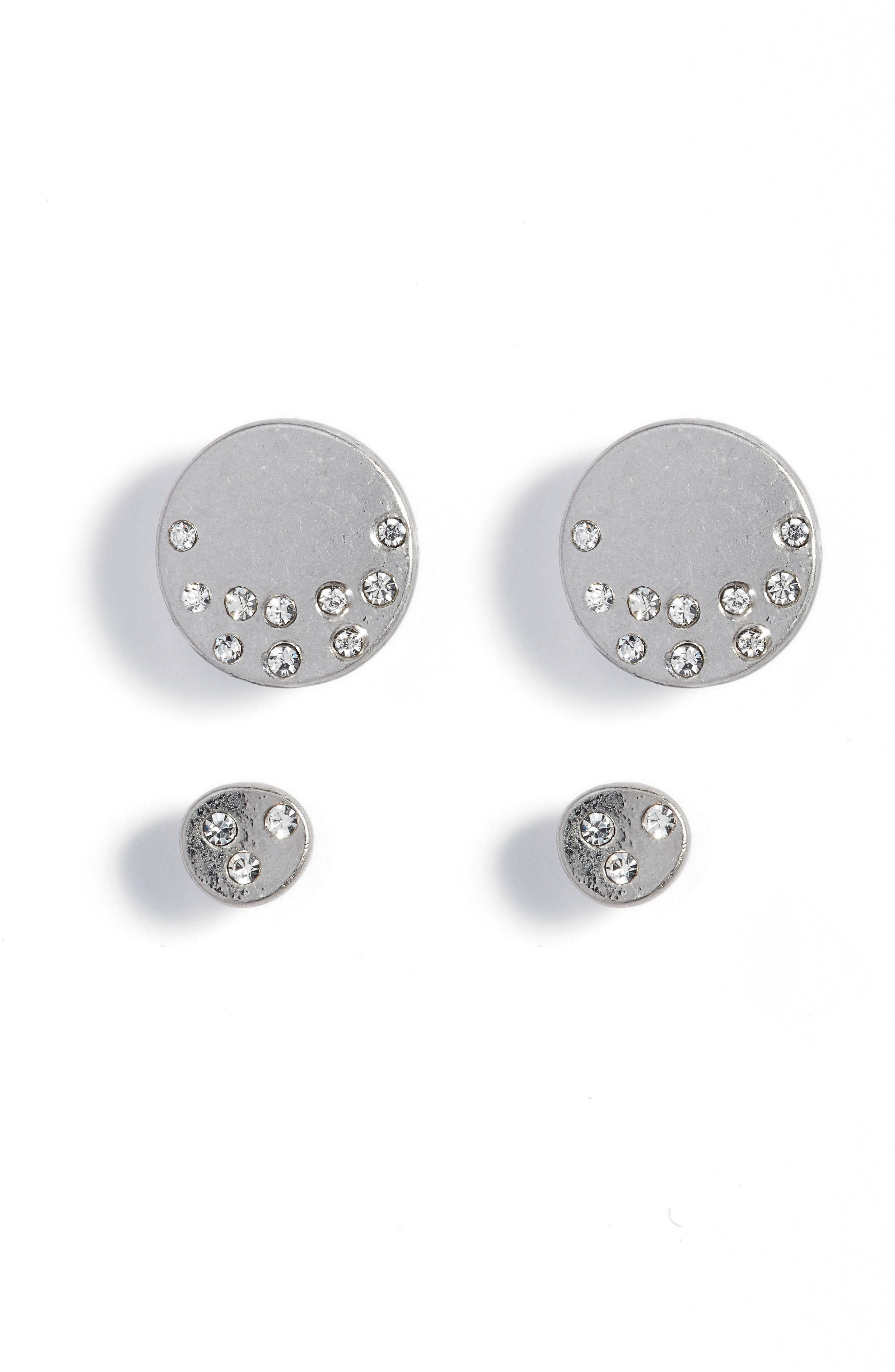 Set of 2 Stud Earrings,                             Main thumbnail 1, color,                             Clear- Rhodium
