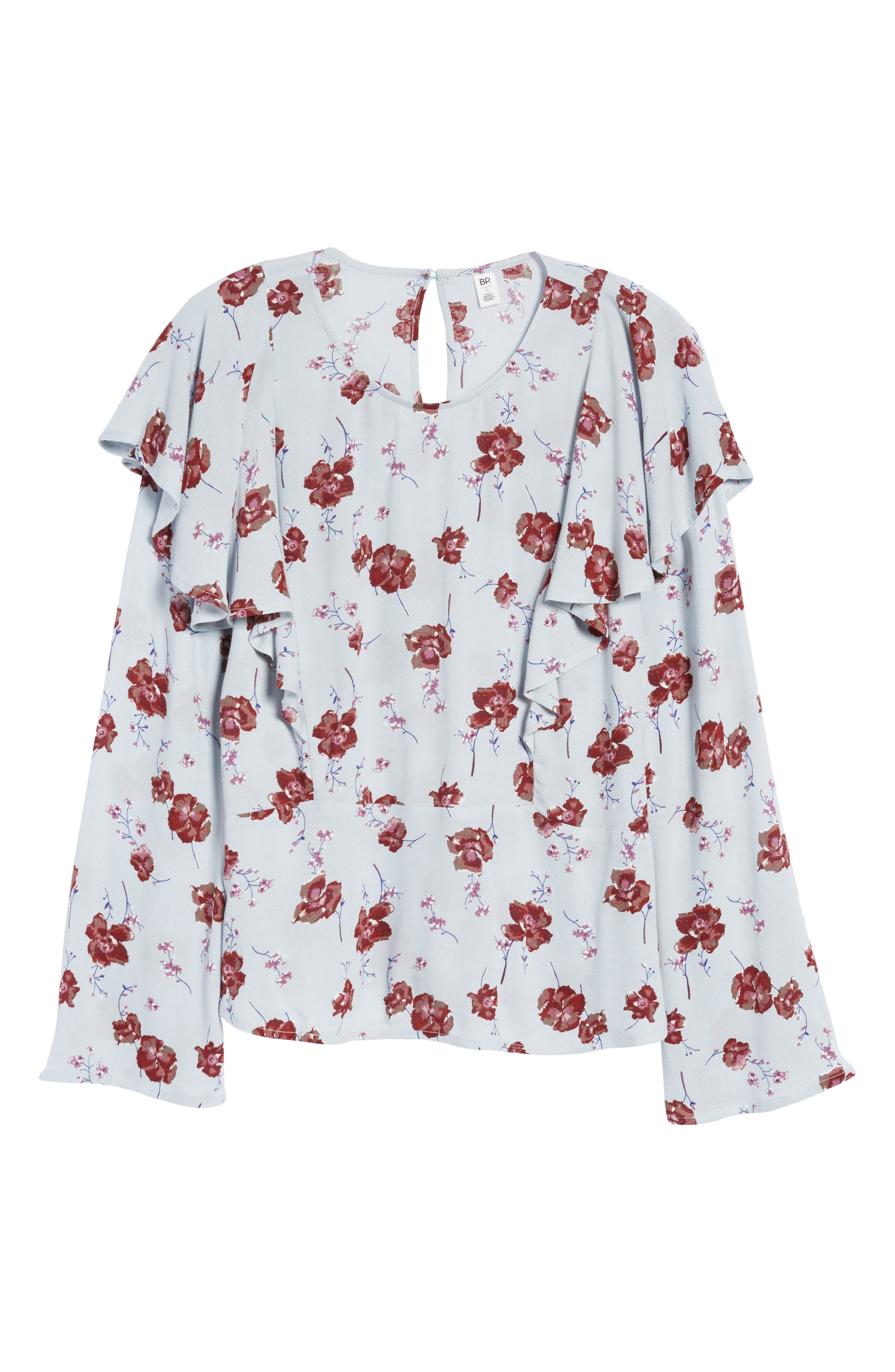 Floral Print Ruffle Blouse,                             Alternate thumbnail 6, color,                             Blue Pearl Meadow Floral