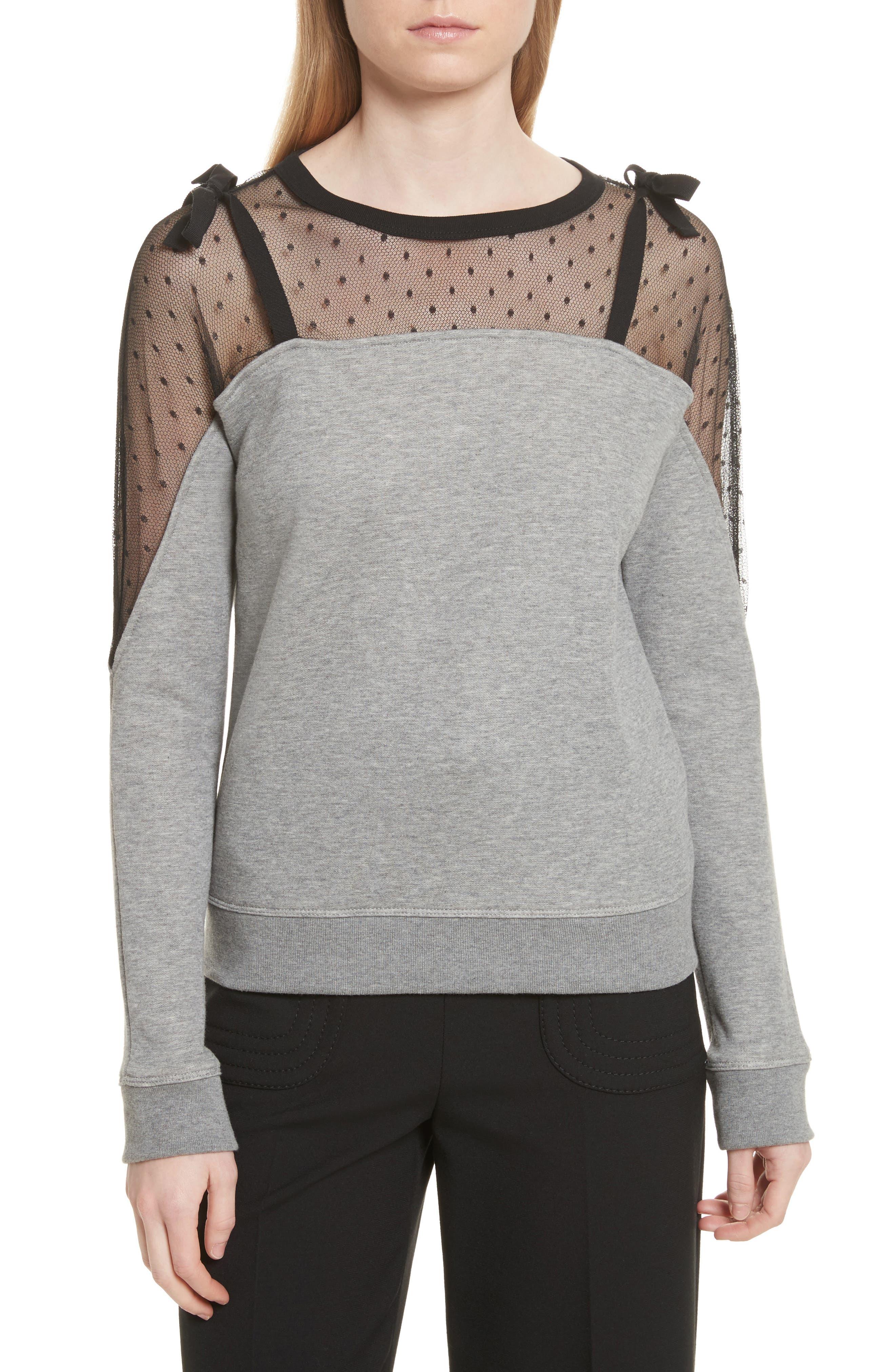 Point D'esprit Sweatshirt,                             Main thumbnail 1, color,                             Grey