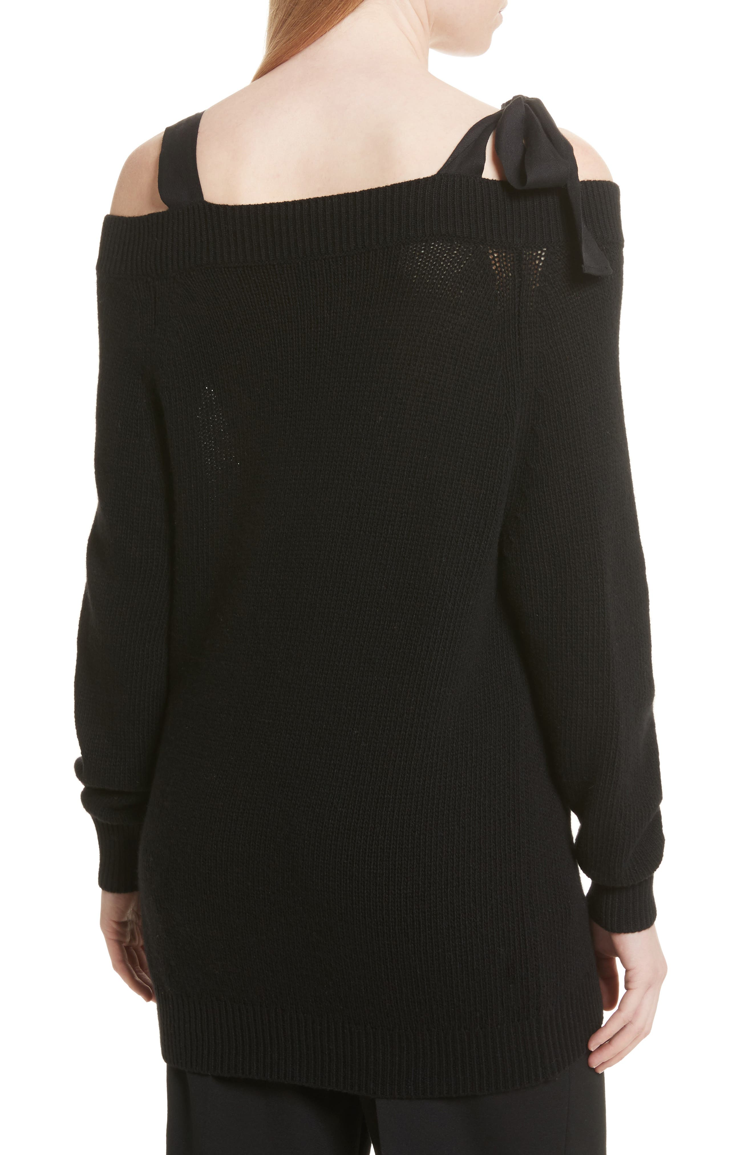Grosgrain Bow Off the Shoulder Wool Sweater,                             Alternate thumbnail 2, color,                             Black