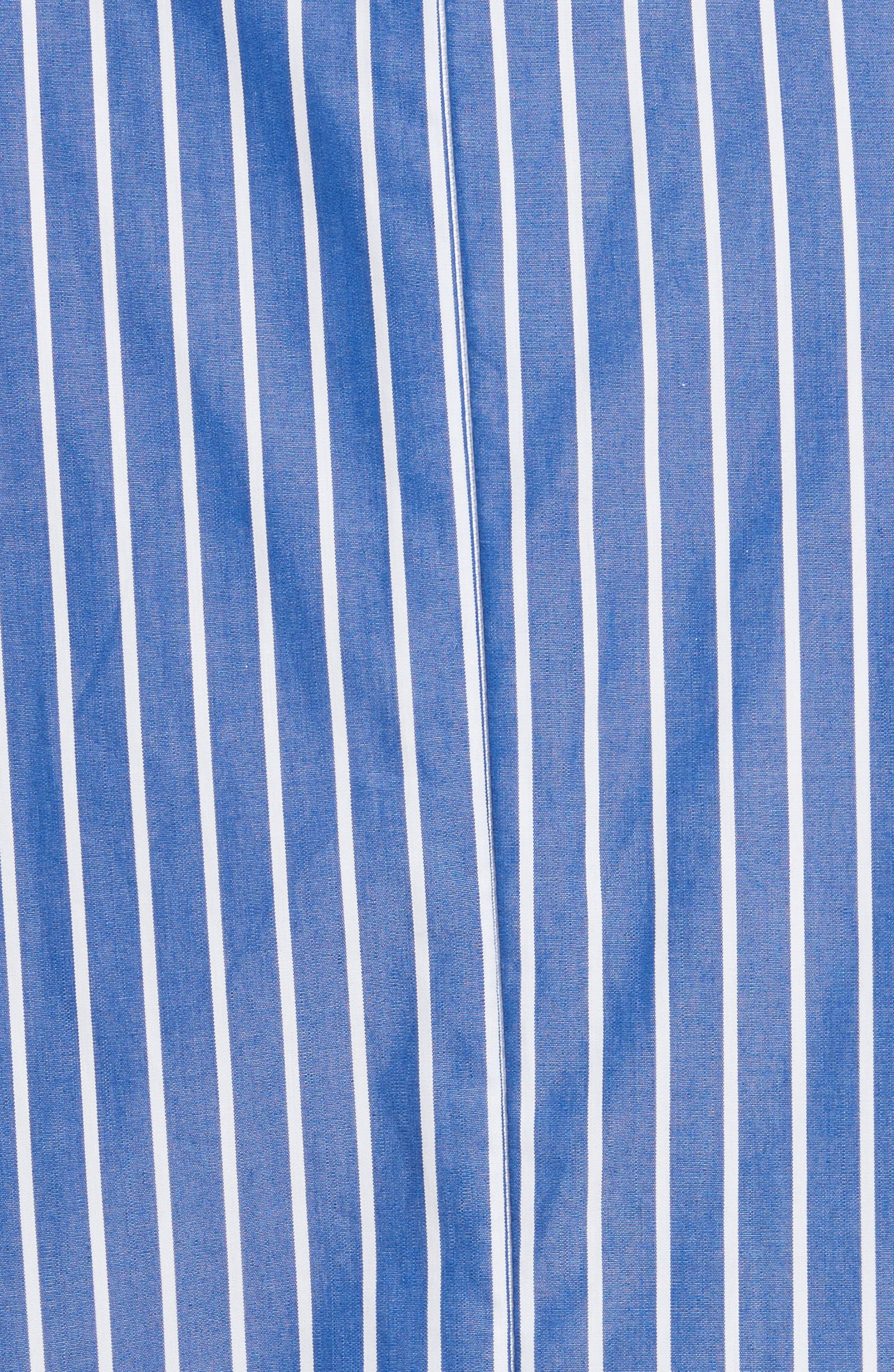 Tie Neck Stripe Cotton Poplin Top,                             Alternate thumbnail 5, color,                             Navy