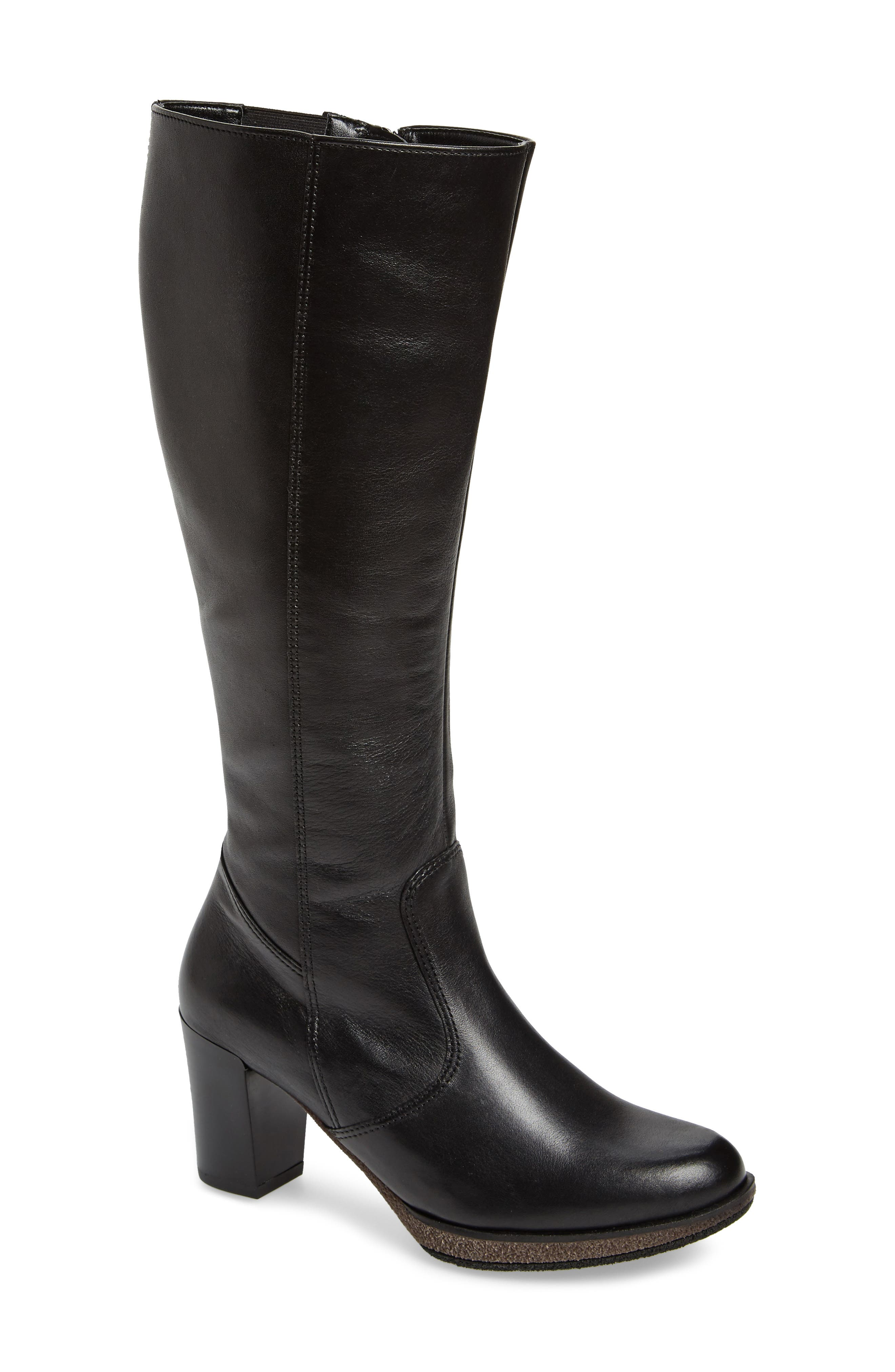 Bexley Knee High Boot,                             Main thumbnail 1, color,                             Black Leather