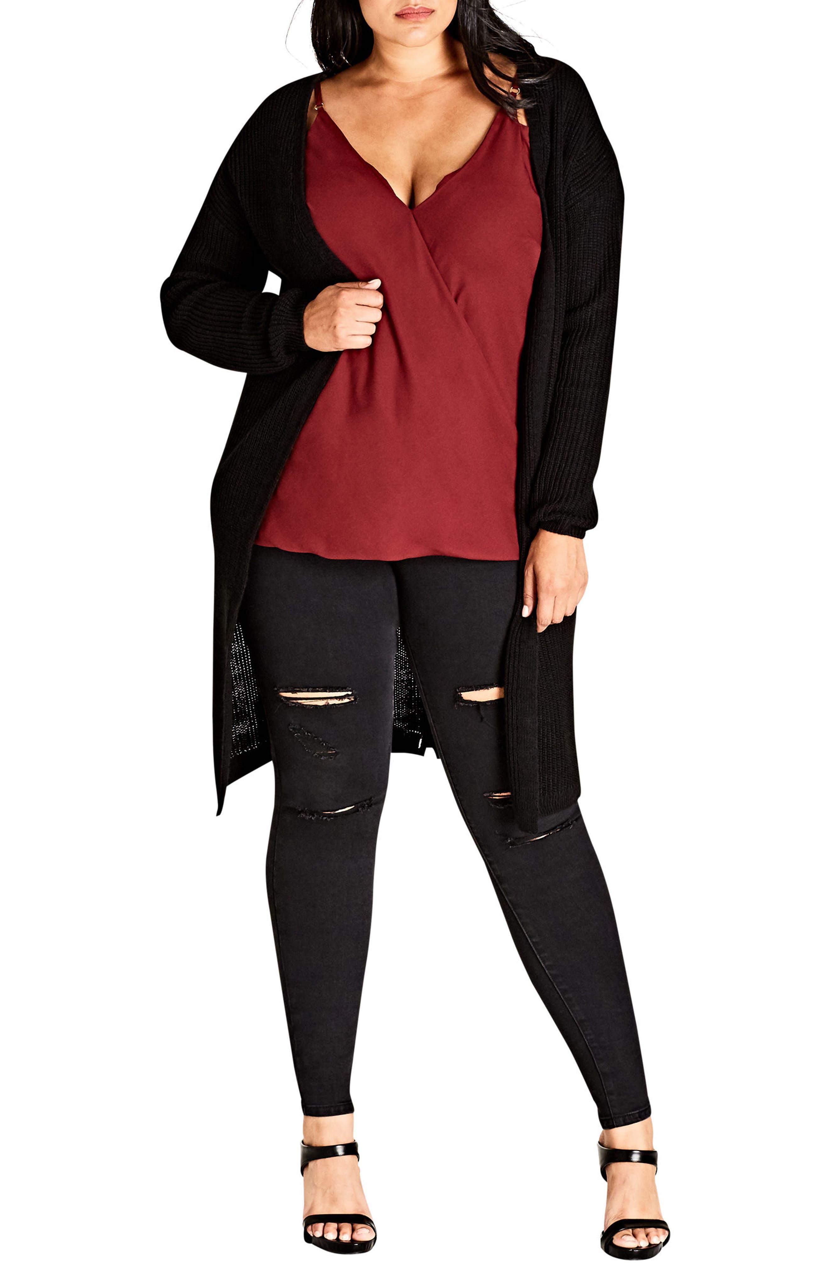 Alternate Image 1 Selected - City Chic Braid Back Cardigan (Plus Size)
