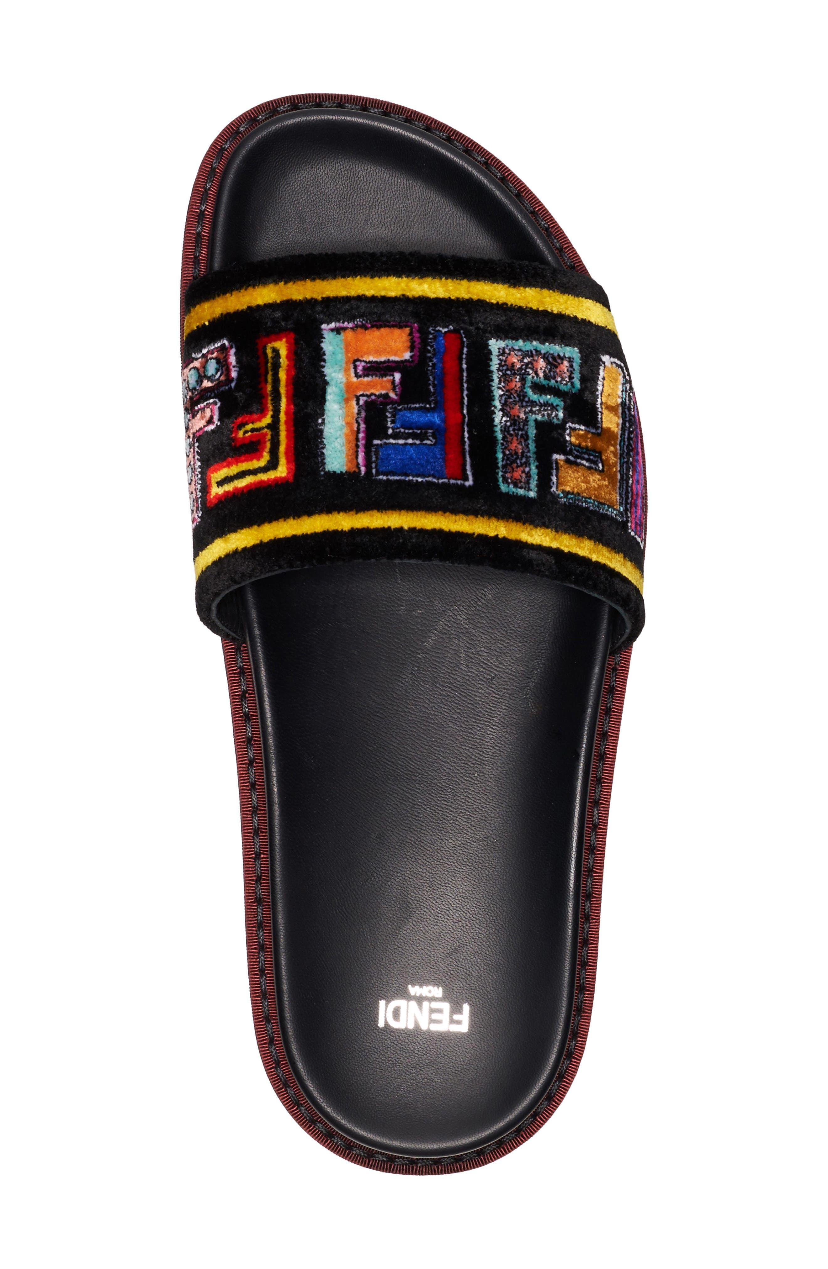 Fun Genuine Mink Fur Logo Slide Sandal,                             Alternate thumbnail 3, color,                             Black
