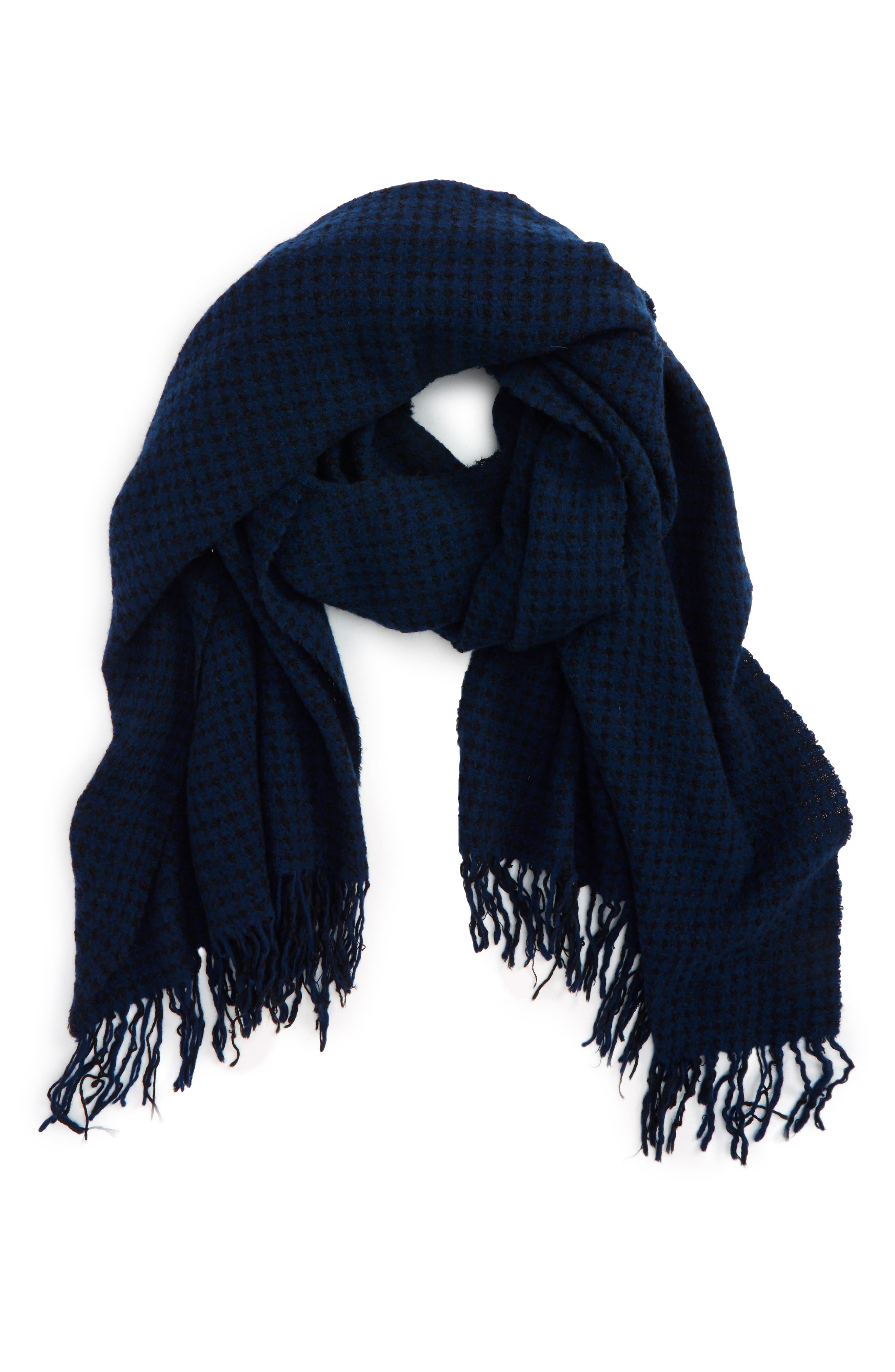 Herringbone Wool Scarf,                         Main,                         color, Navy Multi