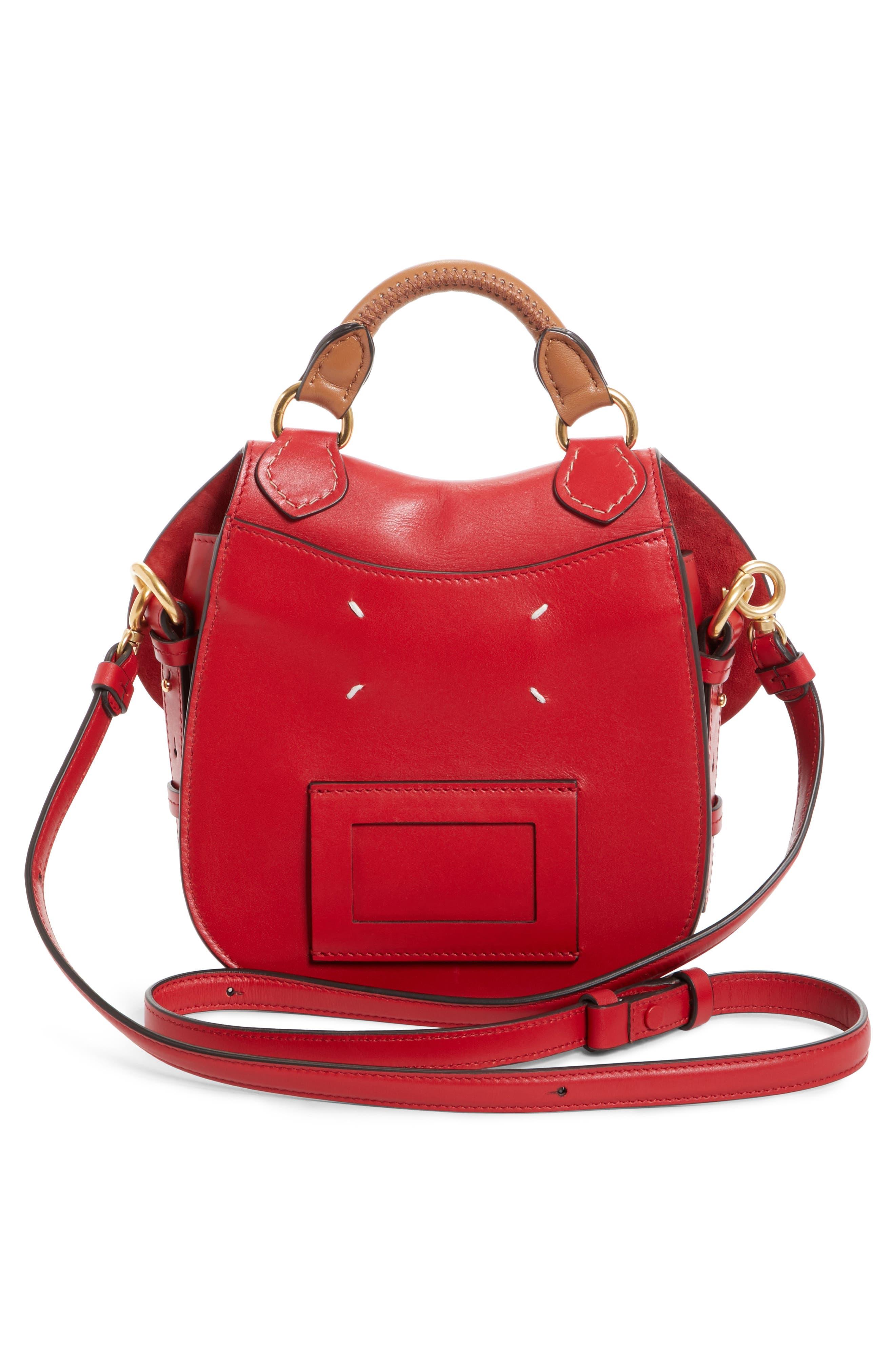 Small Bag-Slide Leather Shoulder Bag,                             Alternate thumbnail 3, color,                             Red