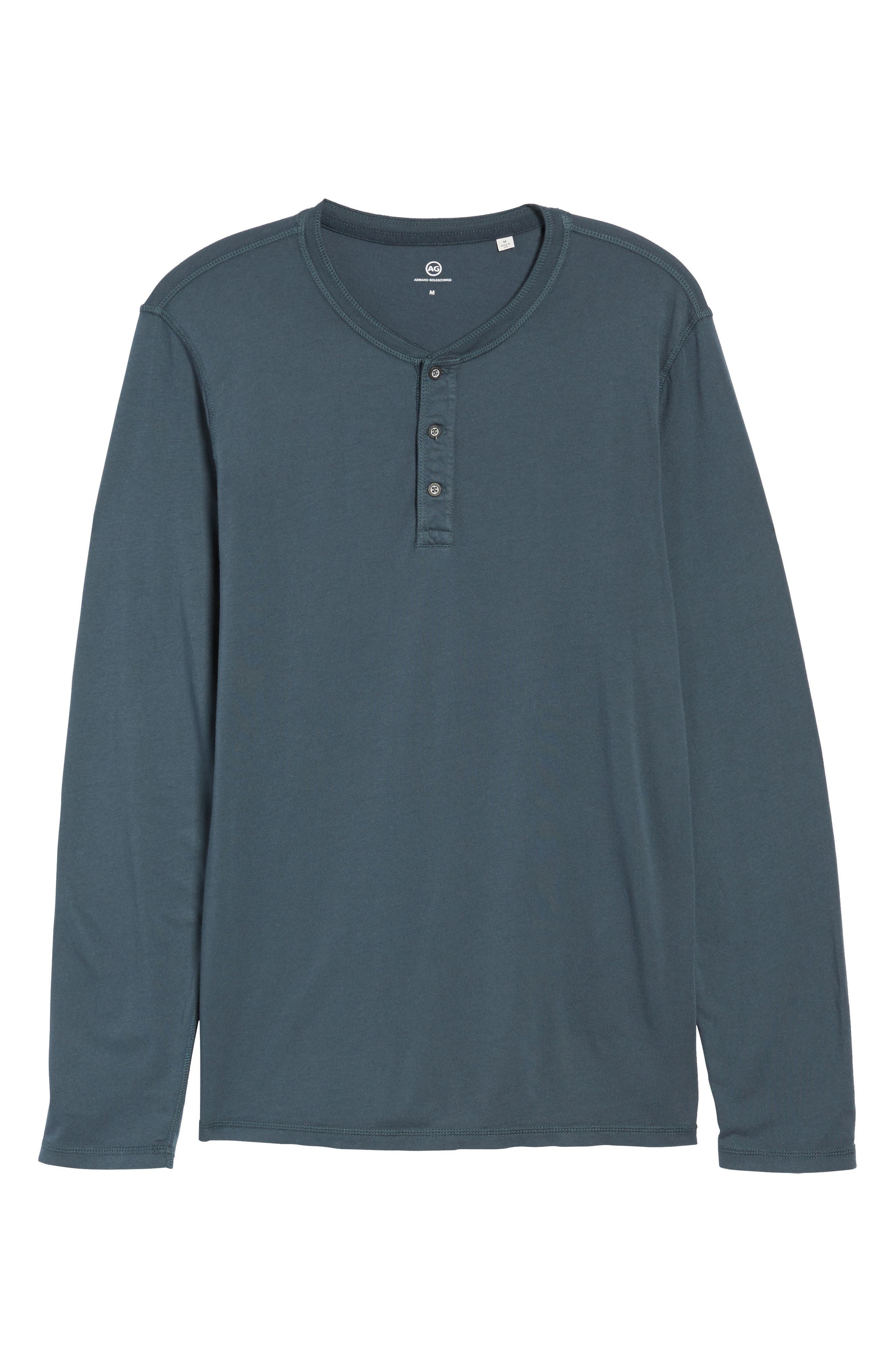 Clyde Slim Fit Long Sleeve Henley,                             Alternate thumbnail 6, color,                             Blue Slate