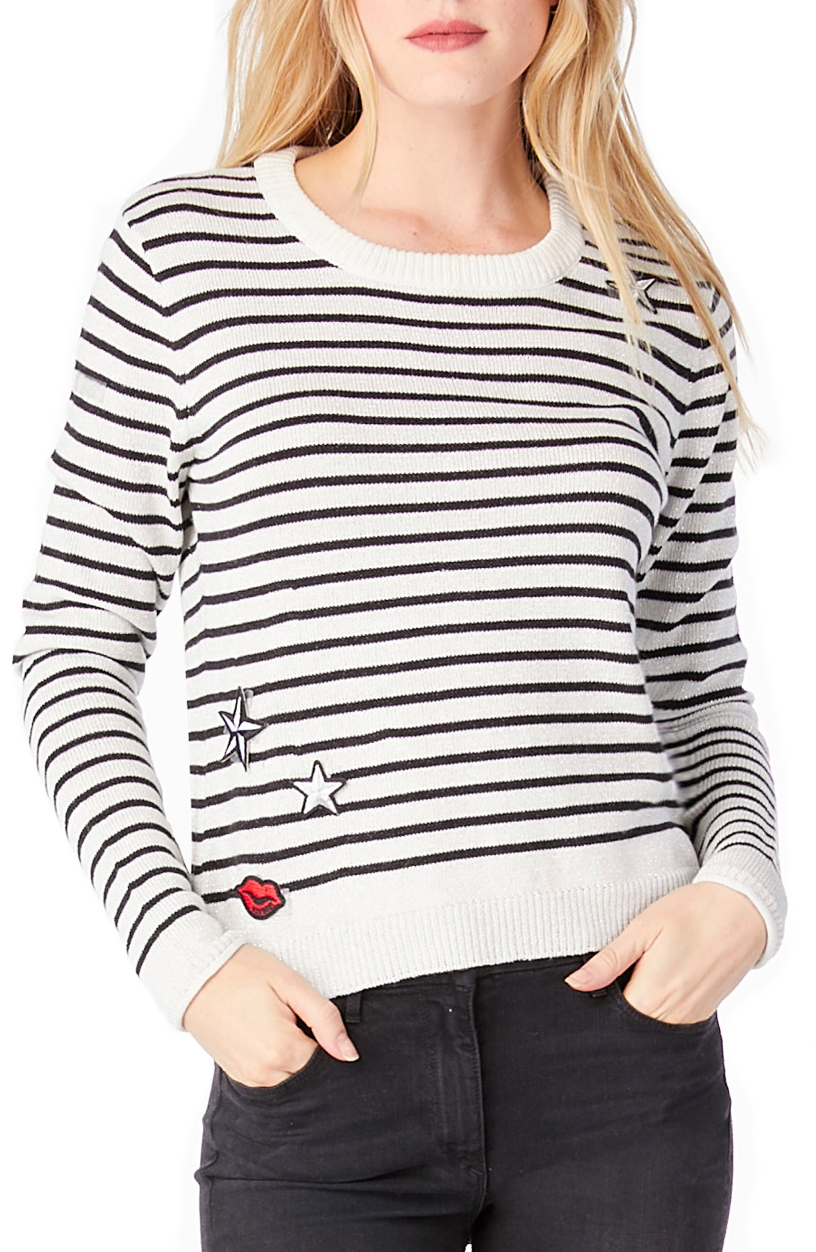 Stripe Patch Crewneck Sweater,                             Main thumbnail 1, color,                             White/ Black