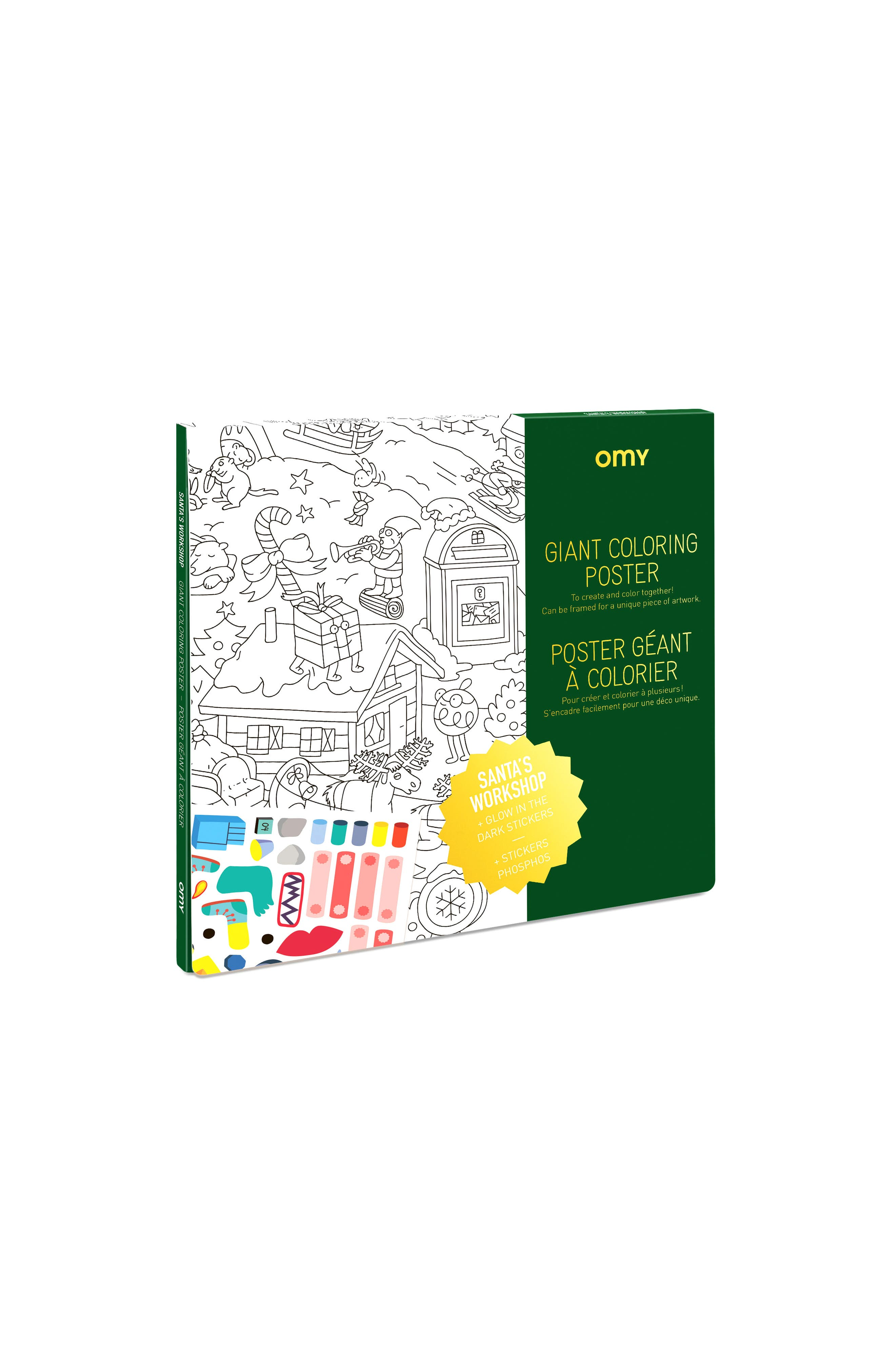 OMY Santa's Workshop Coloring Poster with Glow-in-the-Dark Stickers