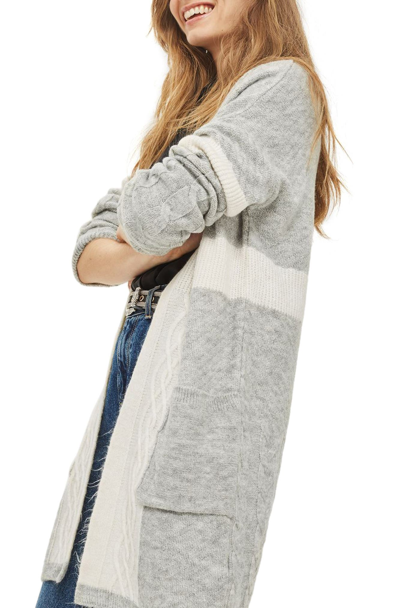 Cable Patchwork Cardigan,                             Alternate thumbnail 4, color,                             Grey Multi