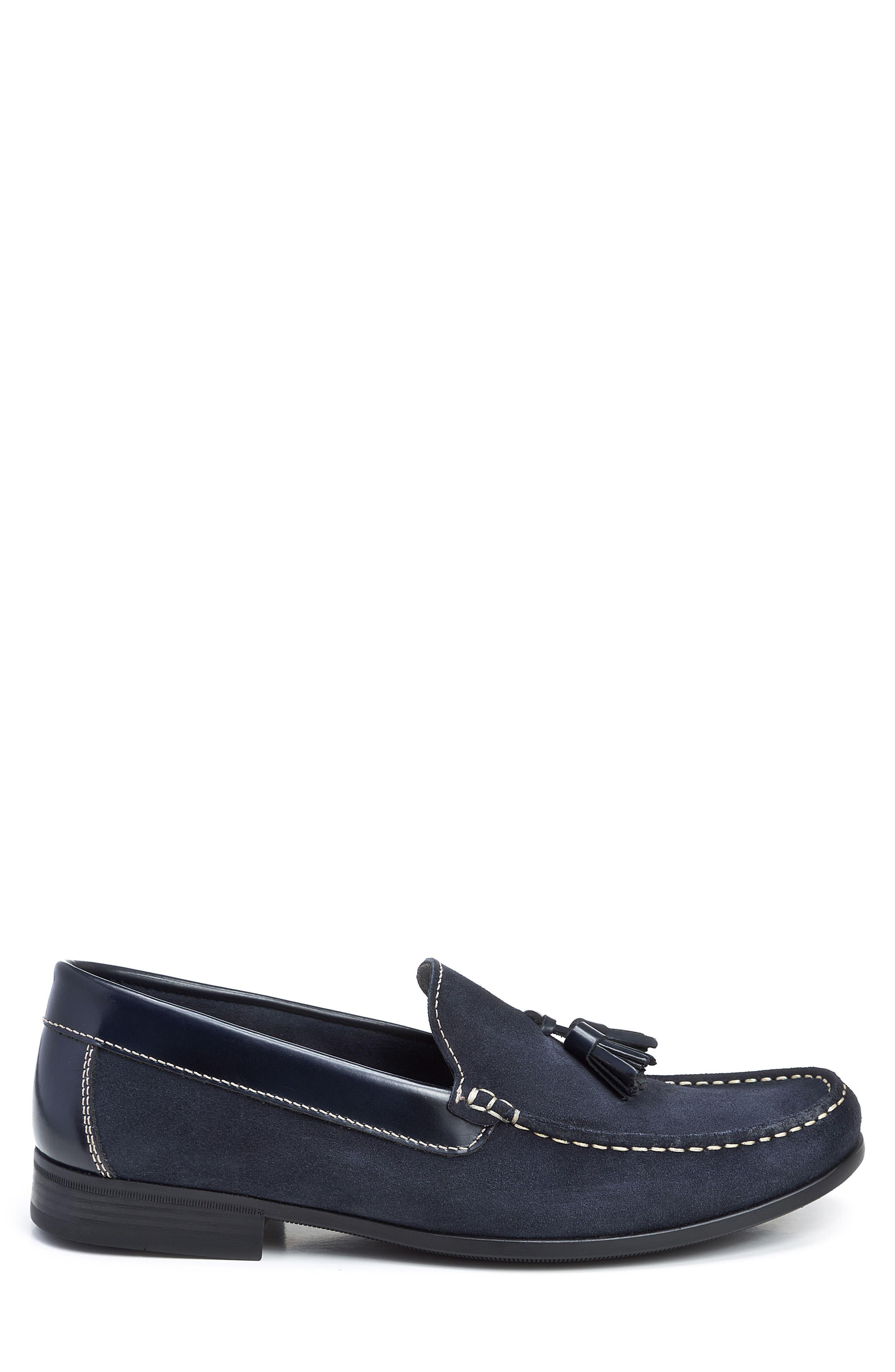 Hojas Tassel Loafer,                             Alternate thumbnail 3, color,                             Navy Leather