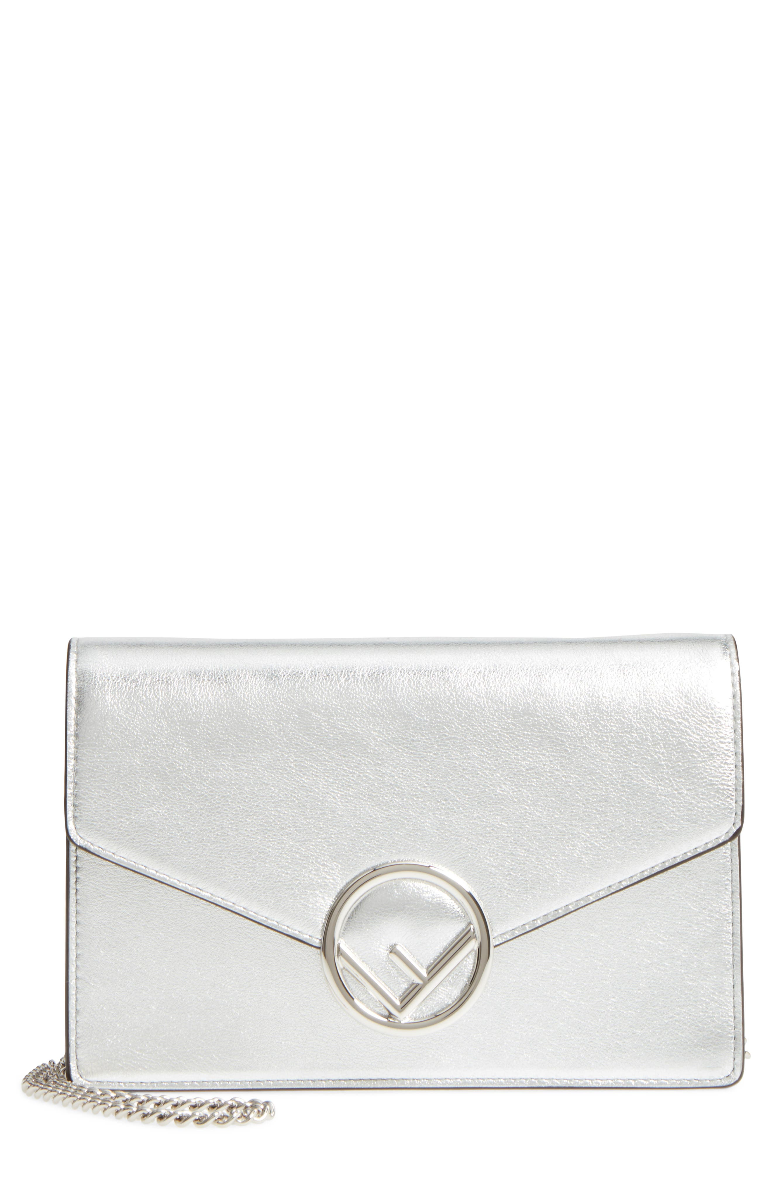 Liberty Logo Calfskin Leather Wallet on a Chain,                         Main,                         color, Silver/ Palladio
