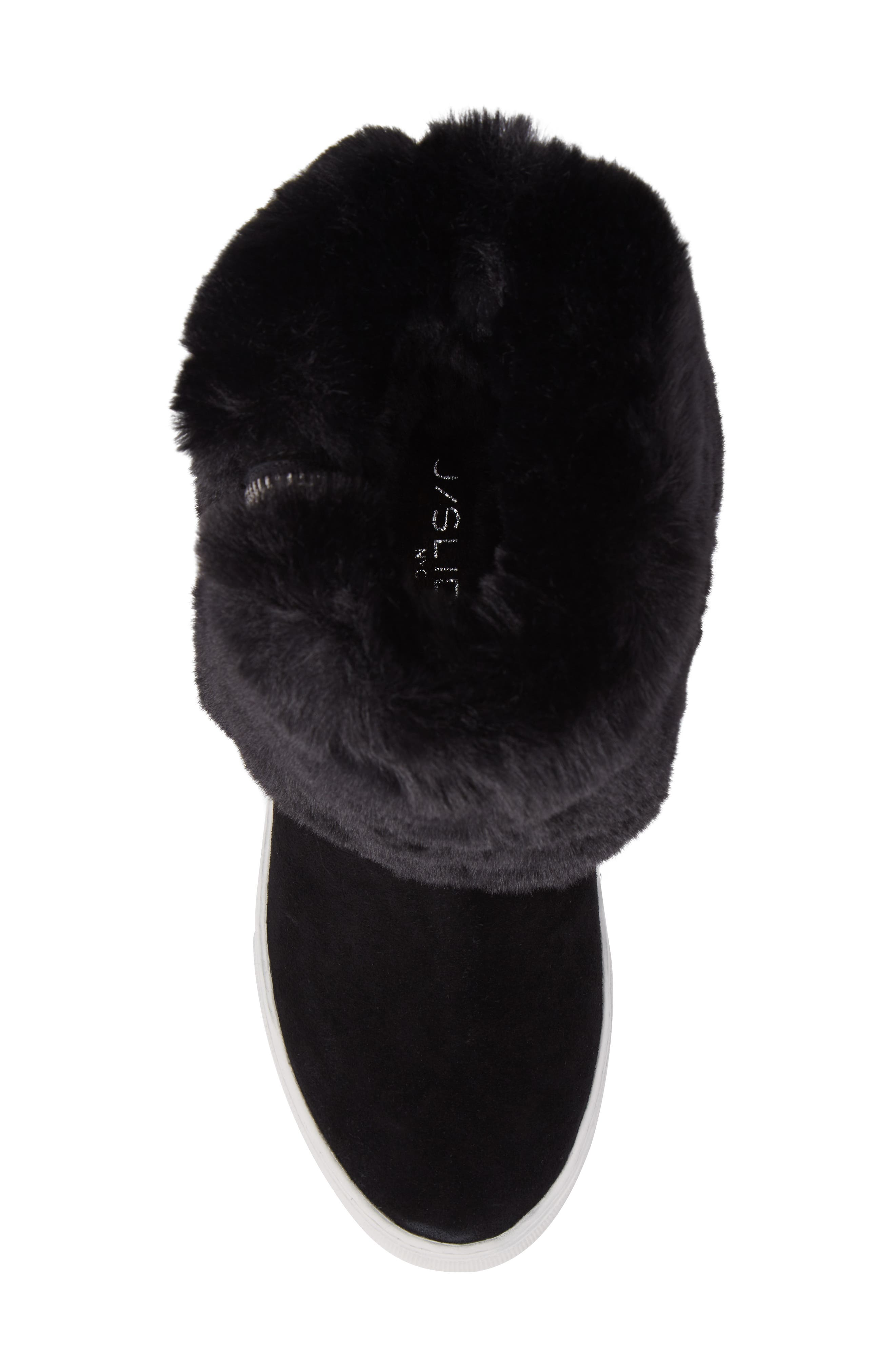 Apple Faux Shearling Boot,                             Alternate thumbnail 6, color,                             Black Suede