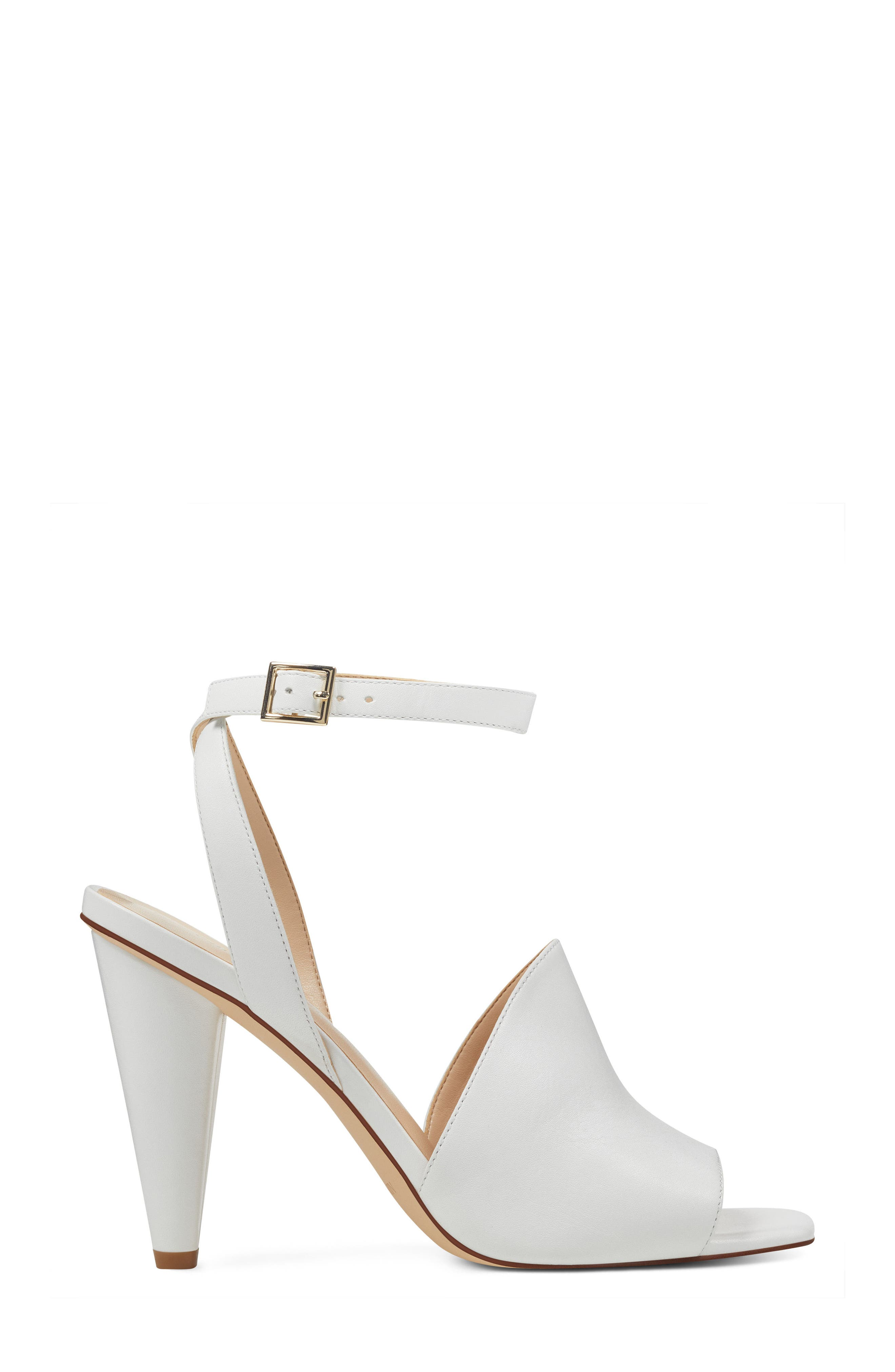 Quilty Ankle Strap Sandal,                             Alternate thumbnail 3, color,                             White Leather