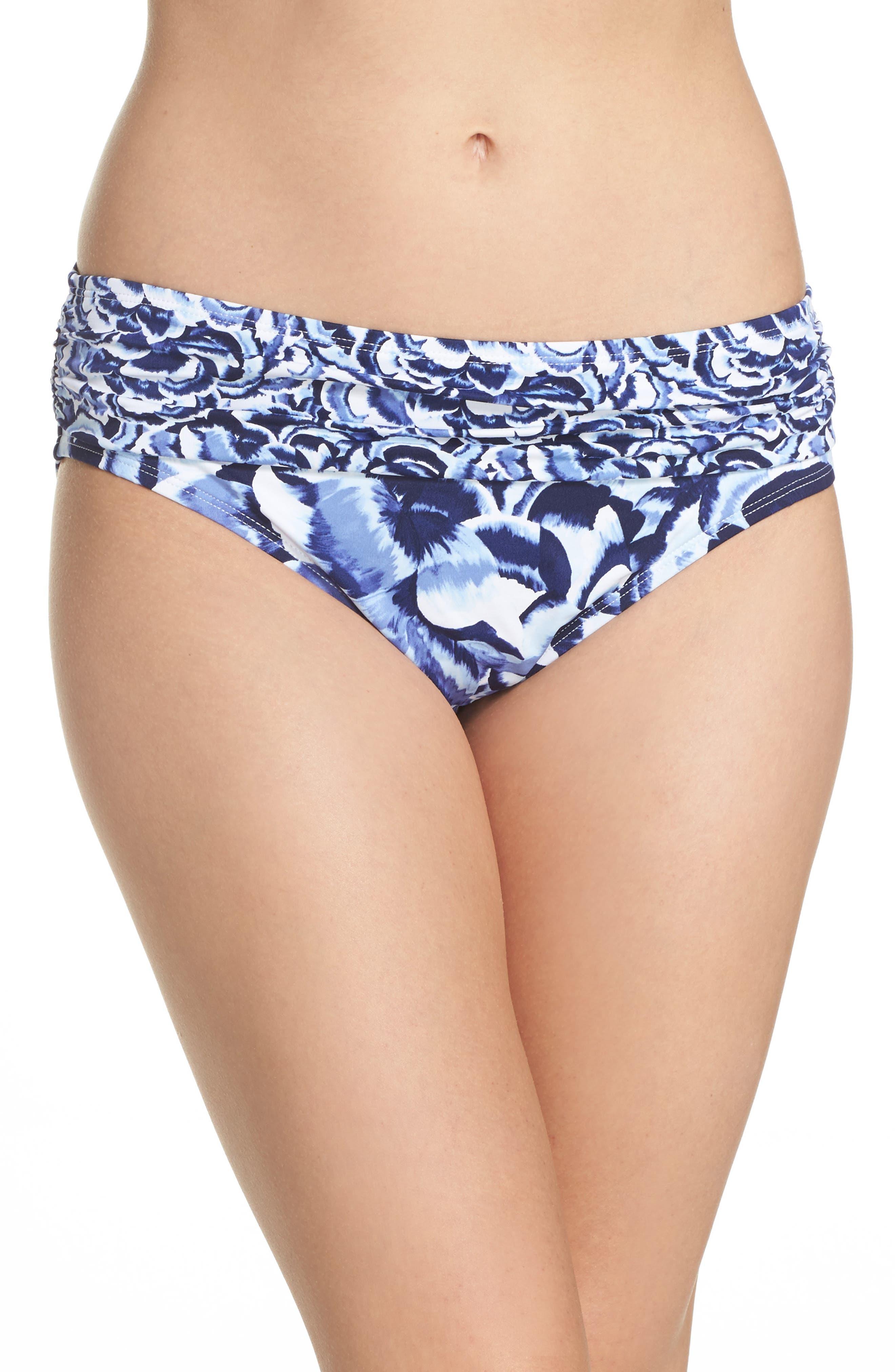 Pansy Petal Brief Bikini Bottoms,                         Main,                         color, White
