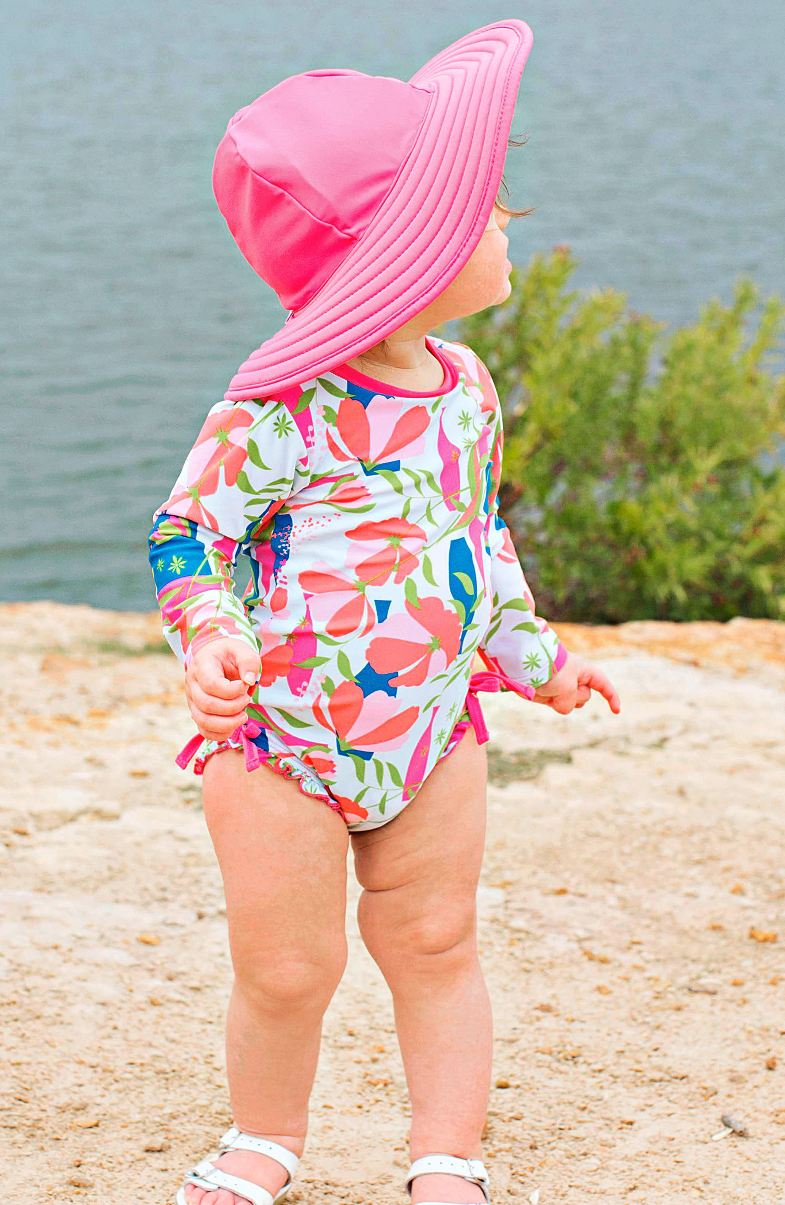 Alternate Image 3  - Ruffle Butts Jeweled Stems One-Piece Rashguard Swimsuit & Sun Hat Set (Baby Girls)