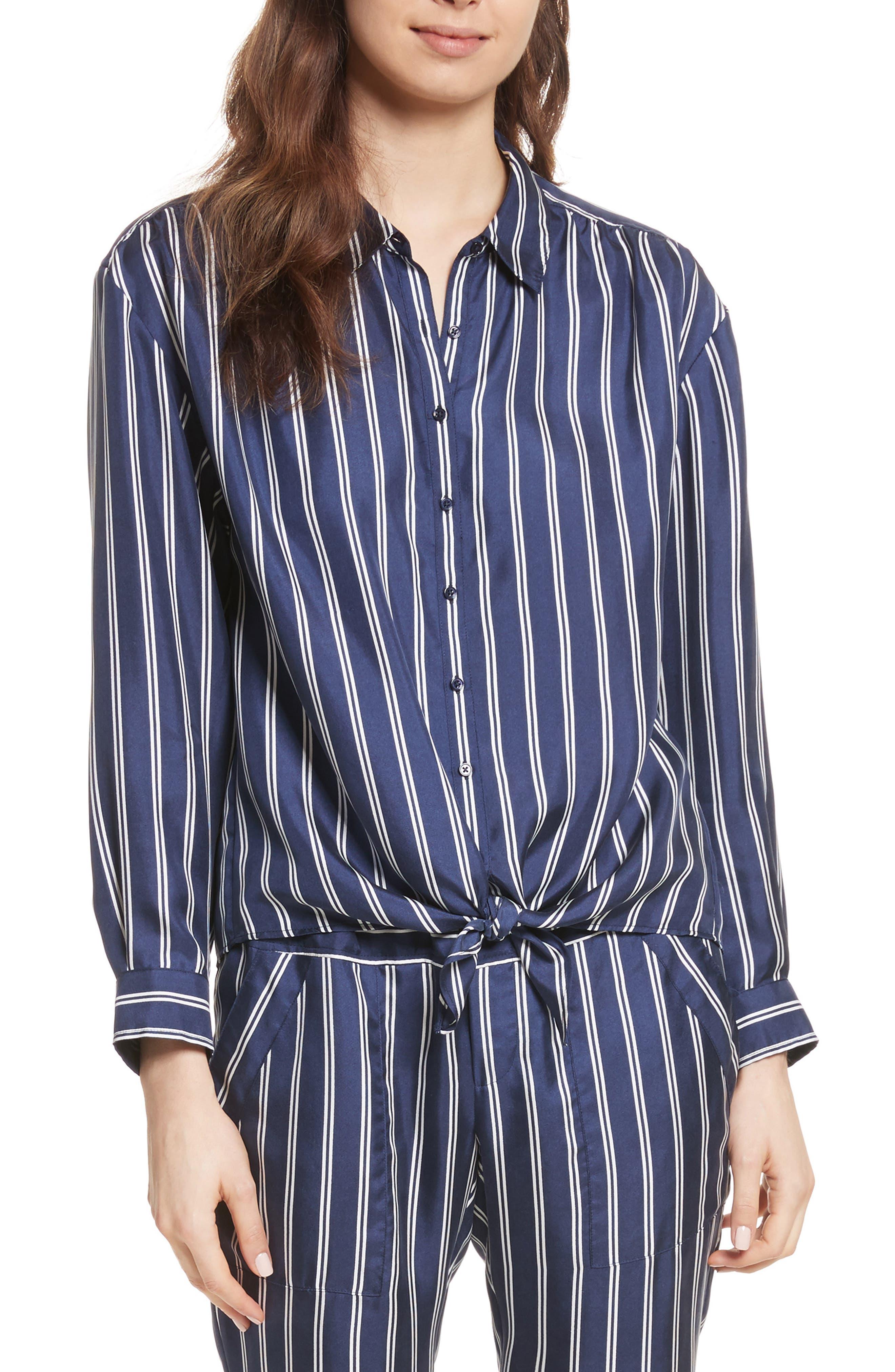 Adiba Stripe Silk Shirt,                         Main,                         color, Dark Navy