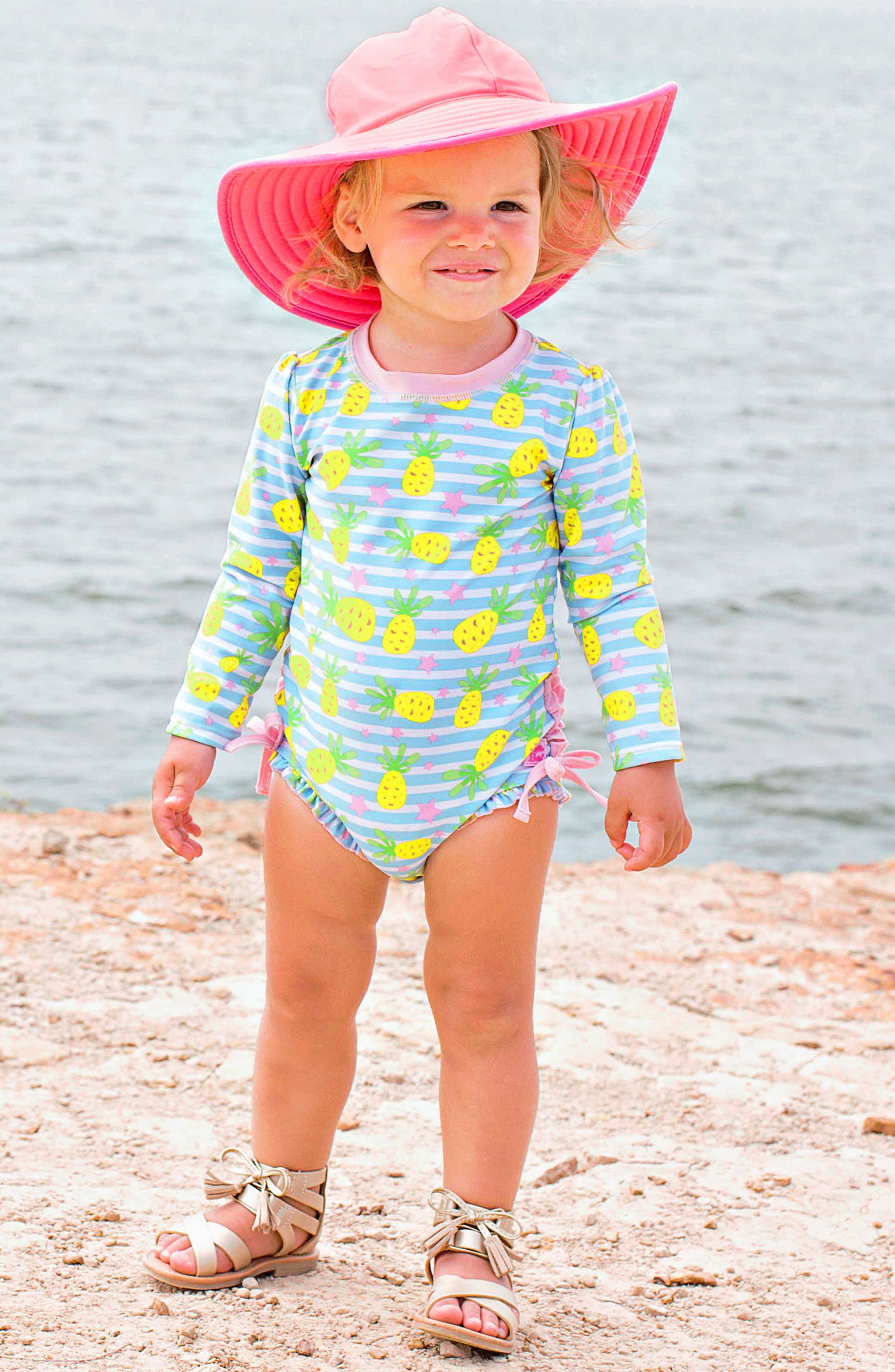 Ruffle Butts Pineapple One-Piece Rashguard Swimsuit & Sun Hat Set,                             Alternate thumbnail 2, color,                             Blue