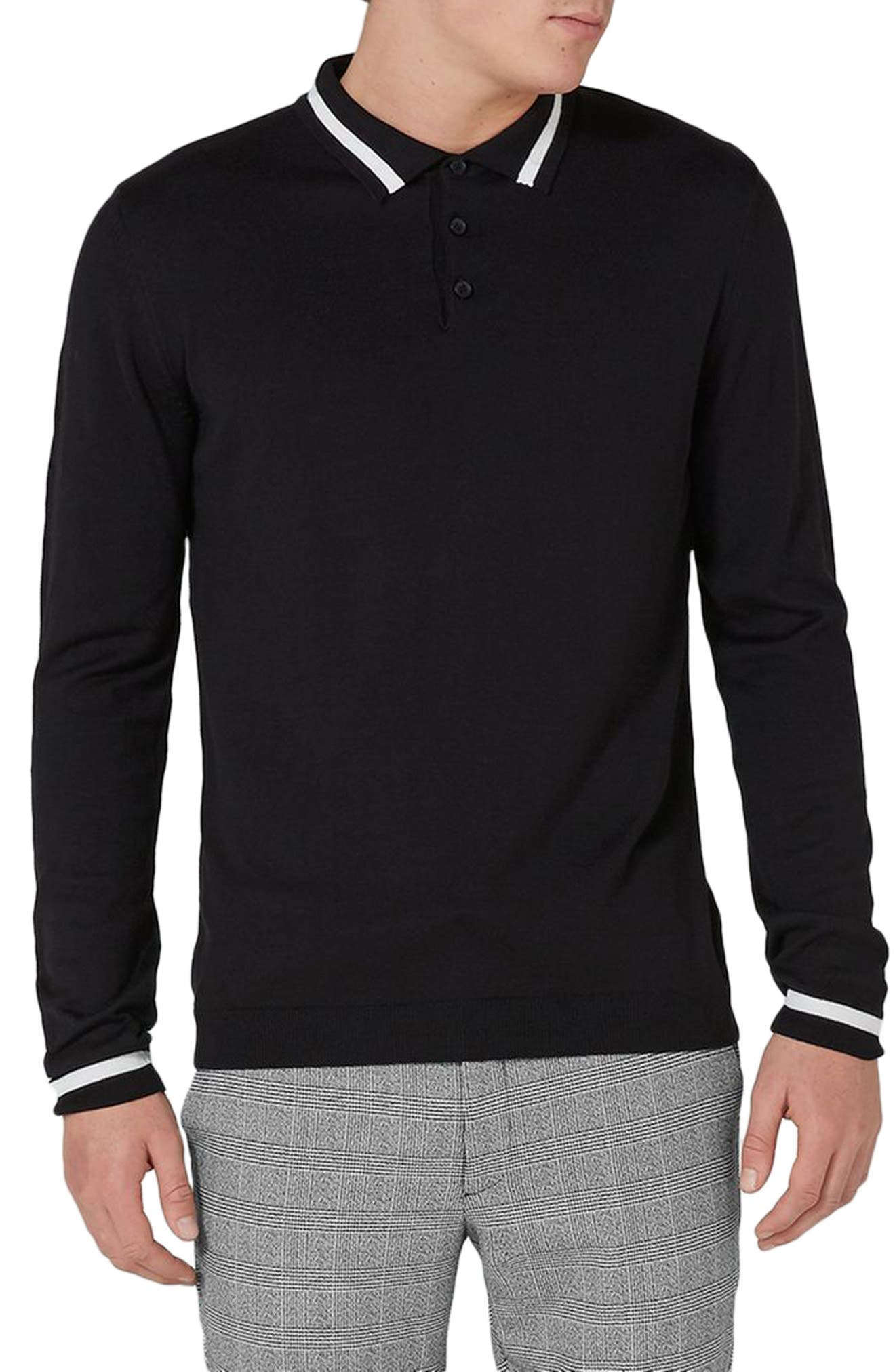 Classic Tipped Knit Polo,                             Main thumbnail 1, color,                             Black