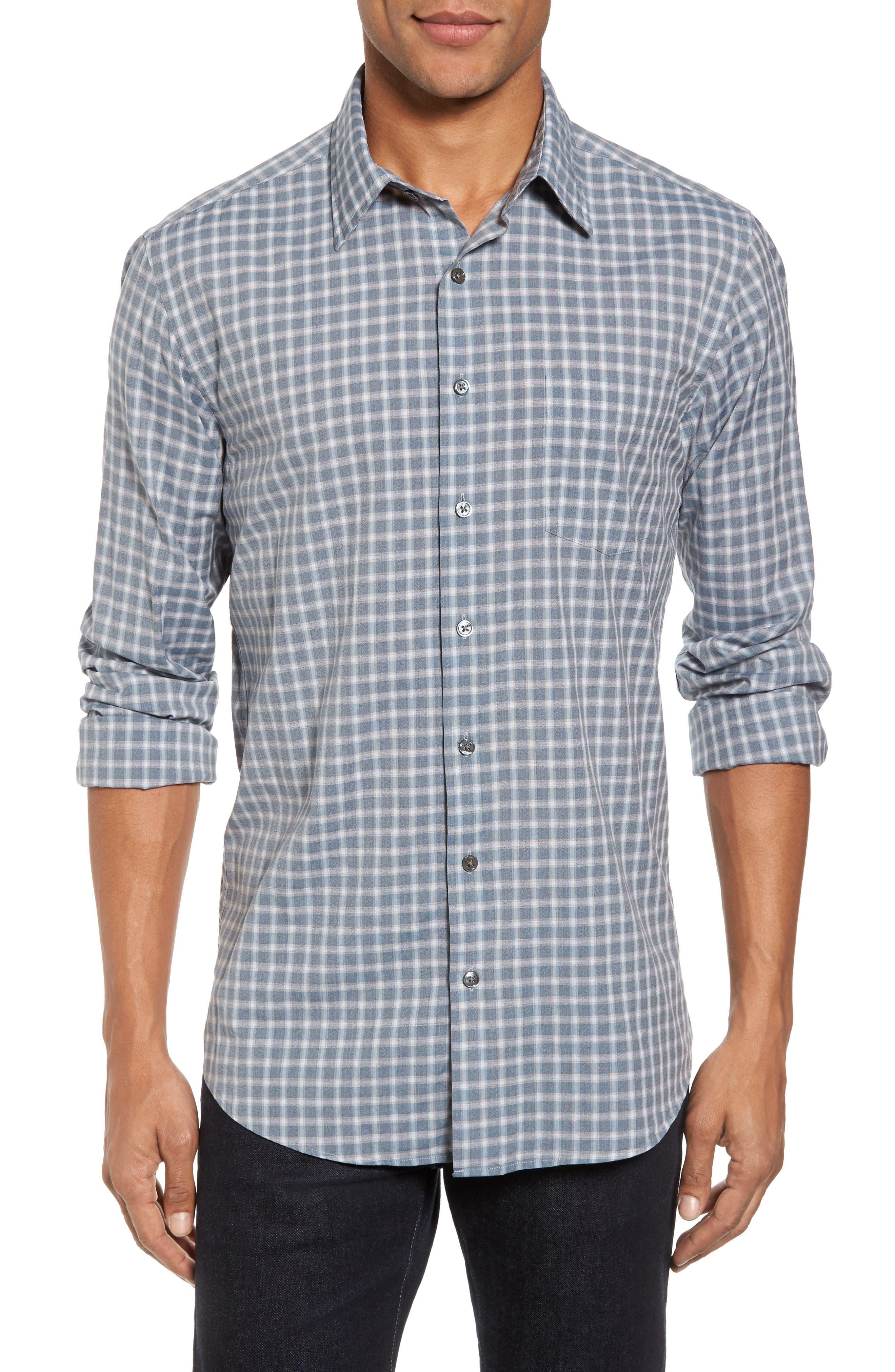 Larkins Way Regular Fit Check Sport Shirt,                         Main,                         color, Slate