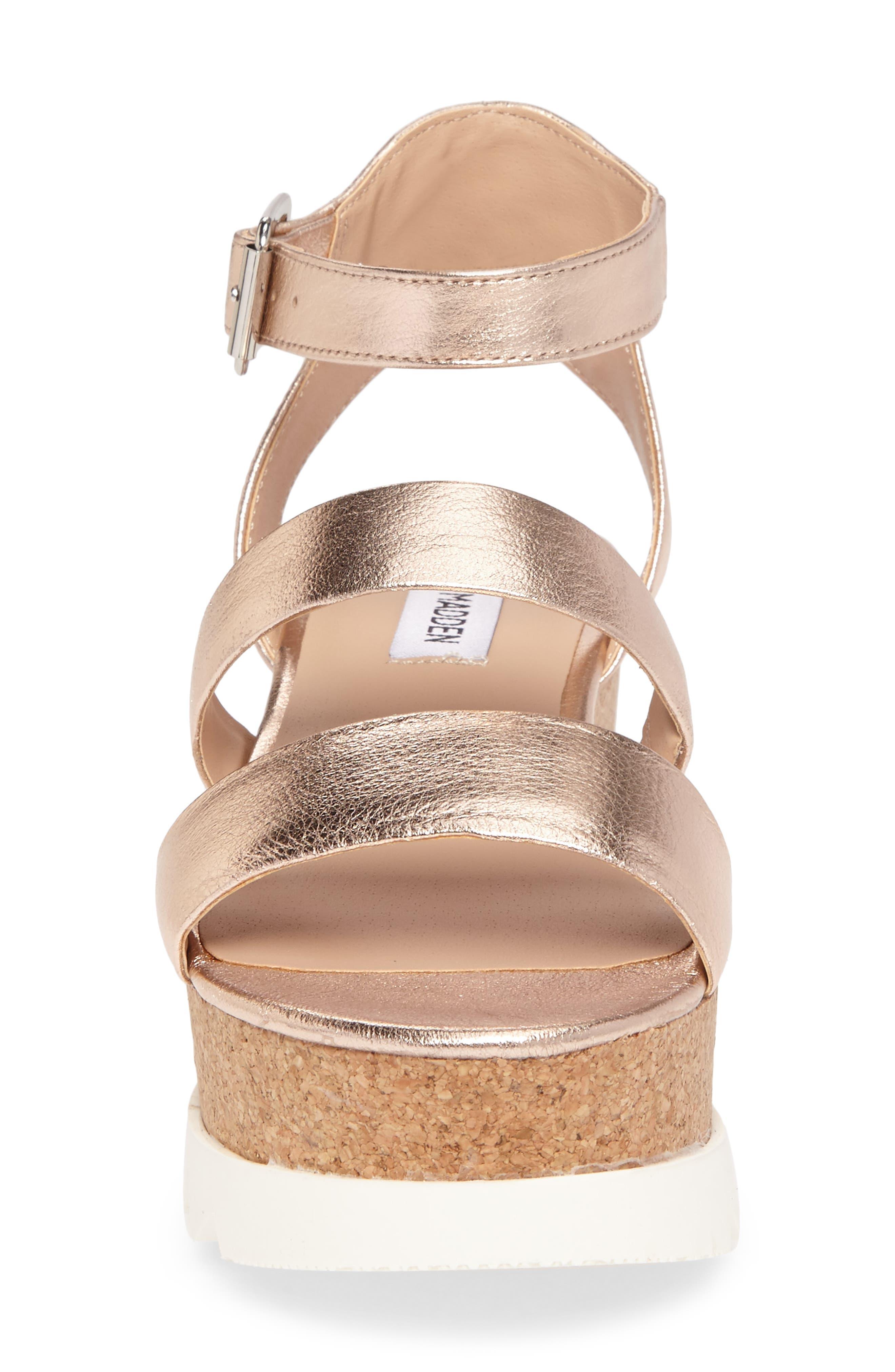 Kirsten Layered Platform Sandal,                             Alternate thumbnail 4, color,                             Rose Leather