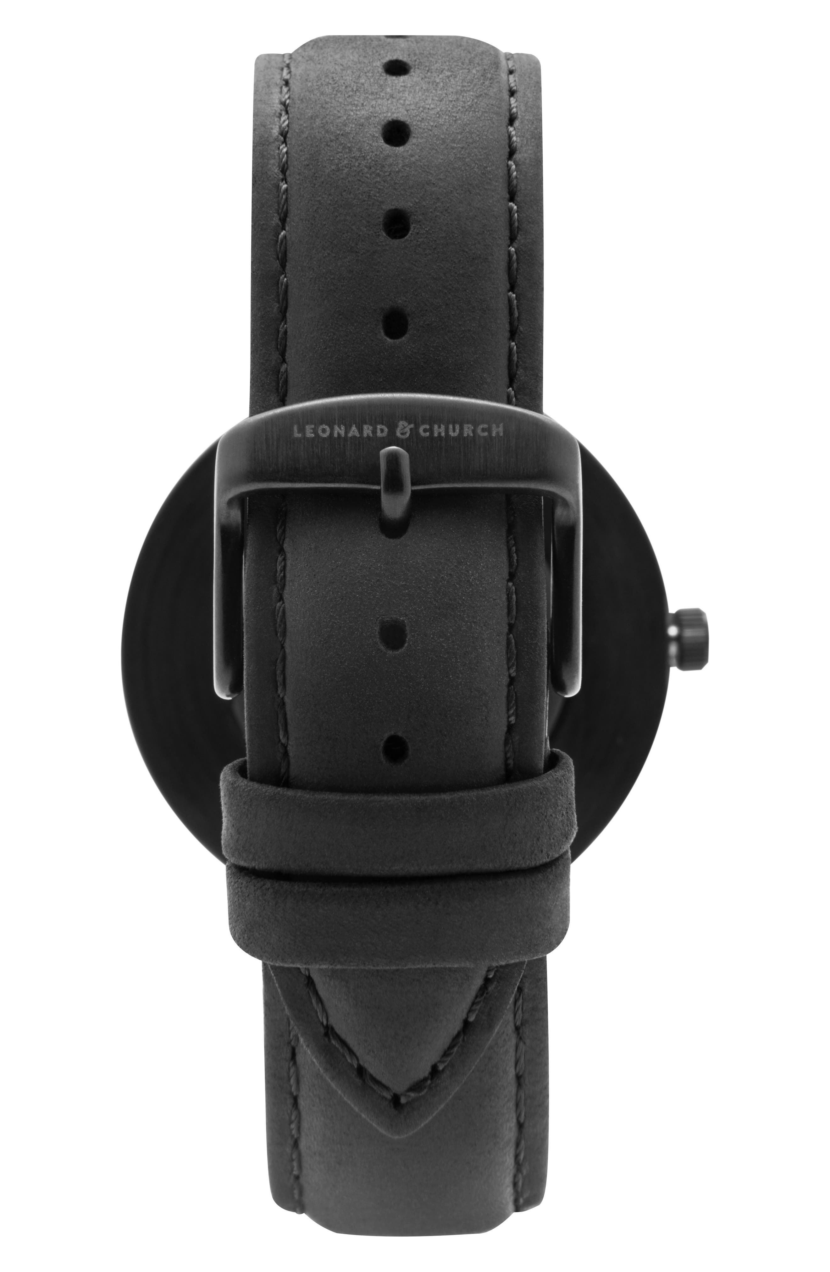 Alternate Image 6  - Leonard & Church Reddington Suede Strap Watch, 40mm