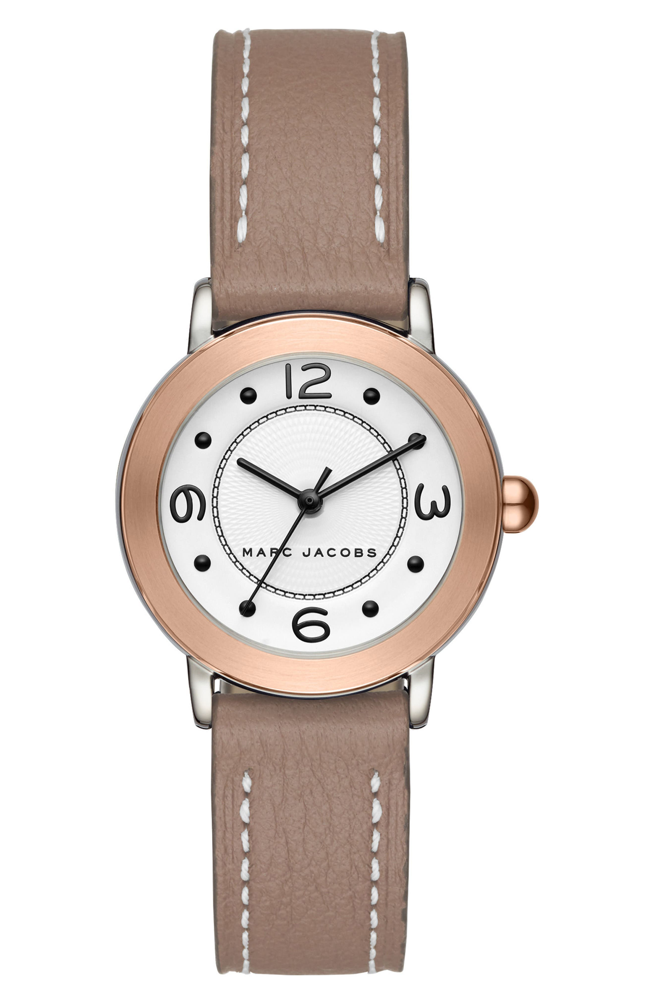 Riley Leather Strap Watch, 28mm,                         Main,                         color, Grey/ White/ Rose Gold