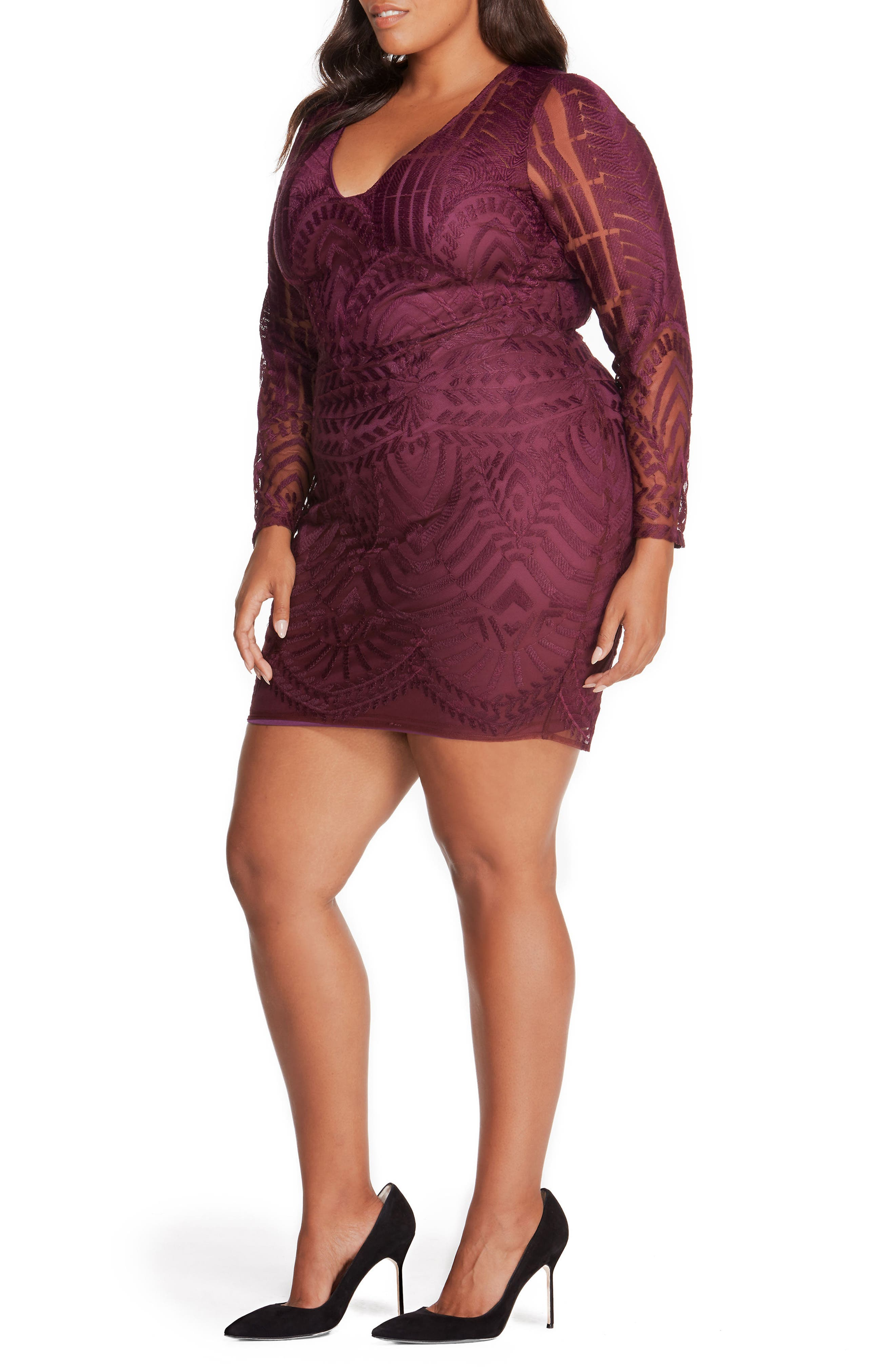REBEL WILSON X ANGELS Embroidered Mesh Dress (Plus Size)
