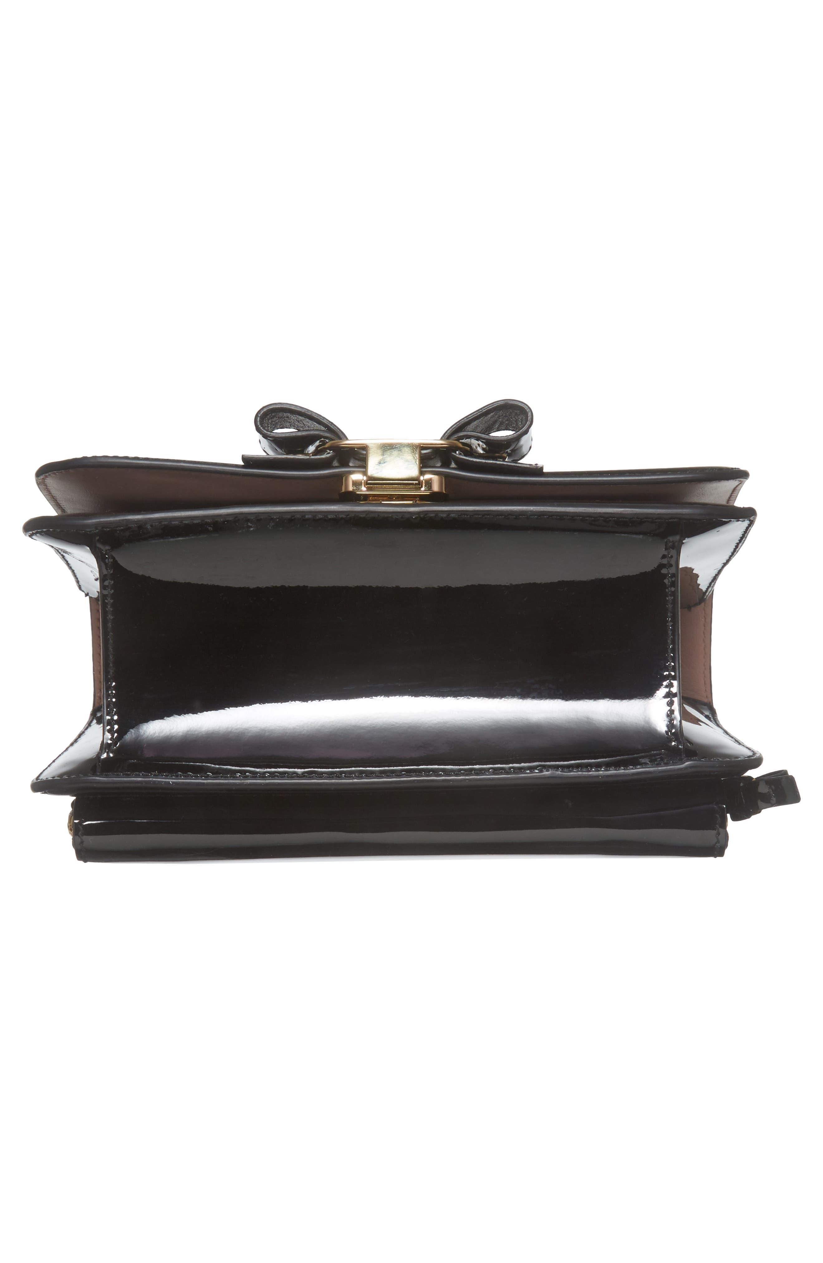 Vara Patent Leather Shoulder Bag,                             Alternate thumbnail 6, color,                             Nero/ Bonbon
