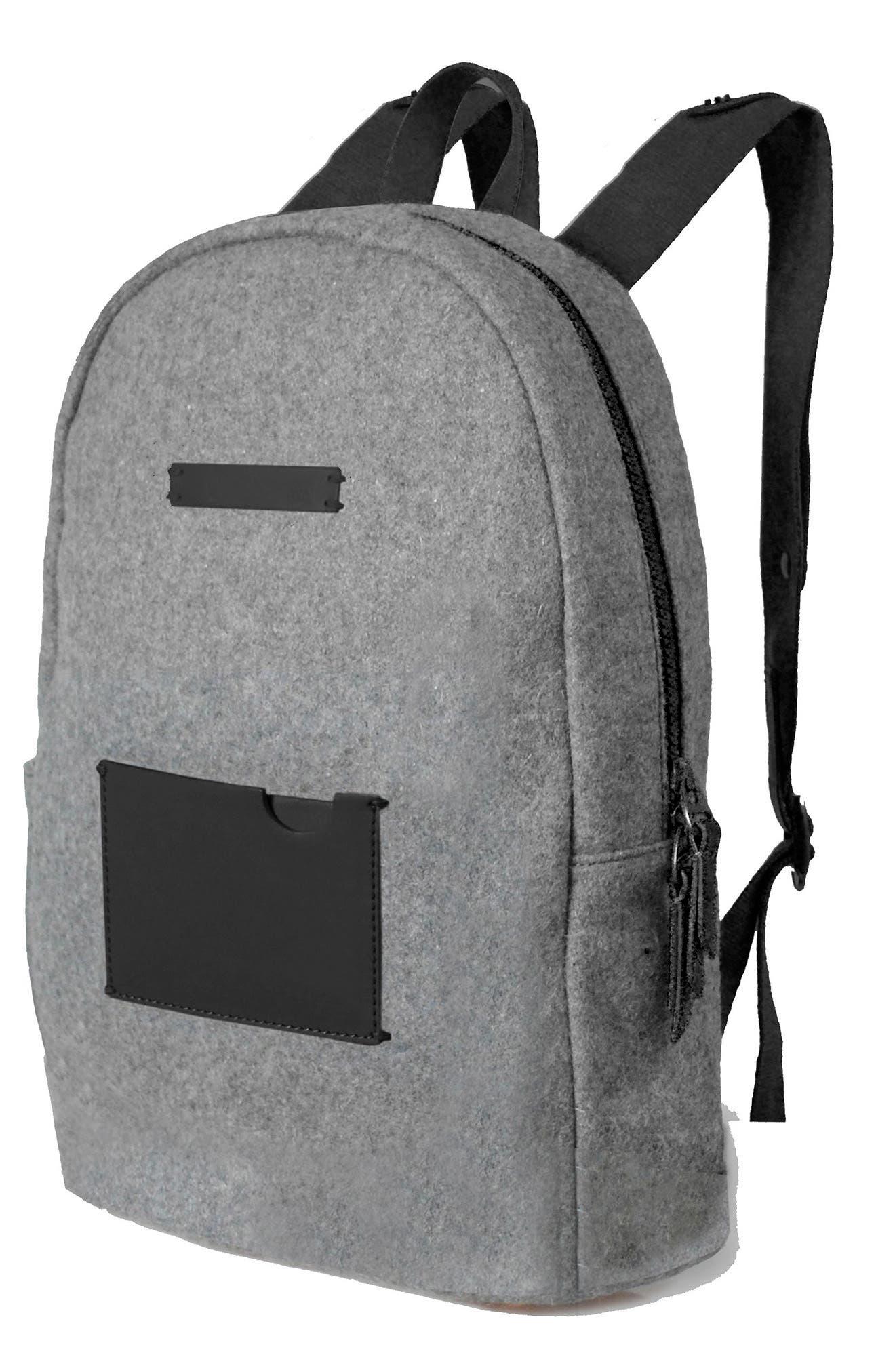 Indie Boiled Wool Backpack,                             Alternate thumbnail 4, color,                             Slate
