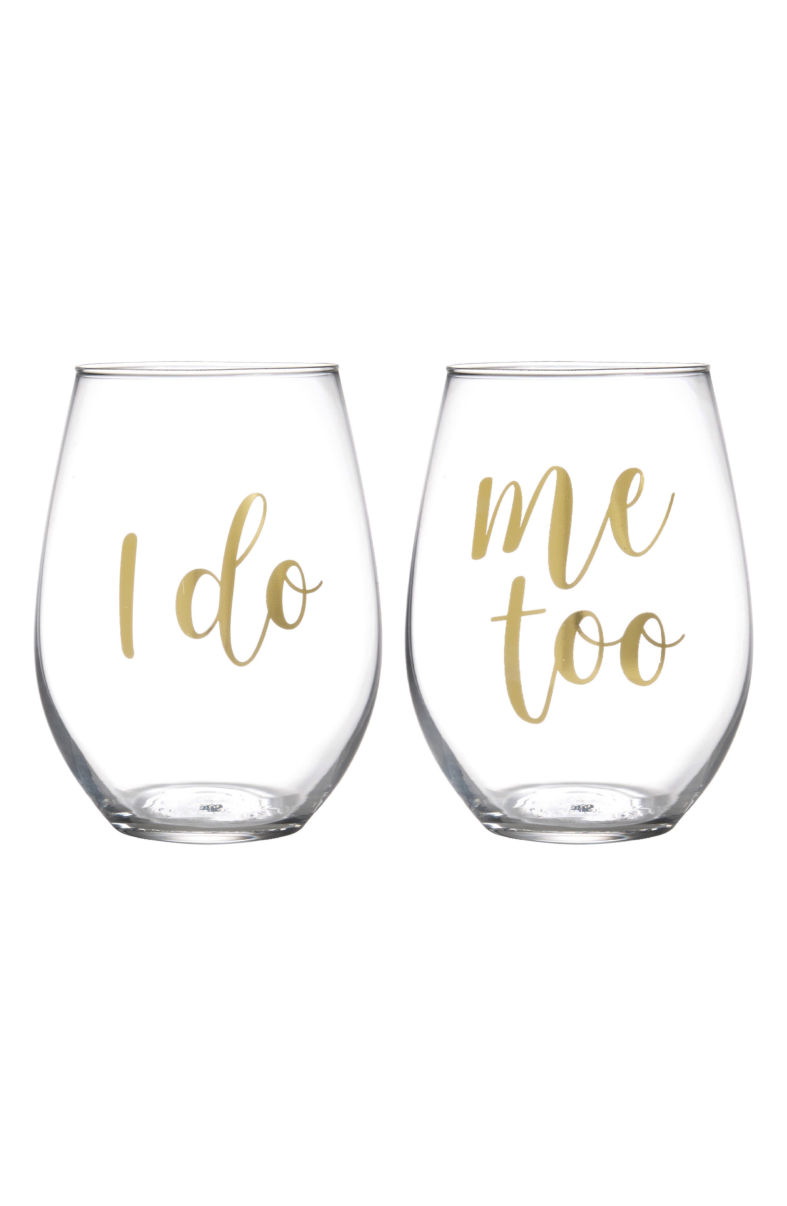 I Do Set of 2 Stemless Wine Glasses,                         Main,                         color, Gold