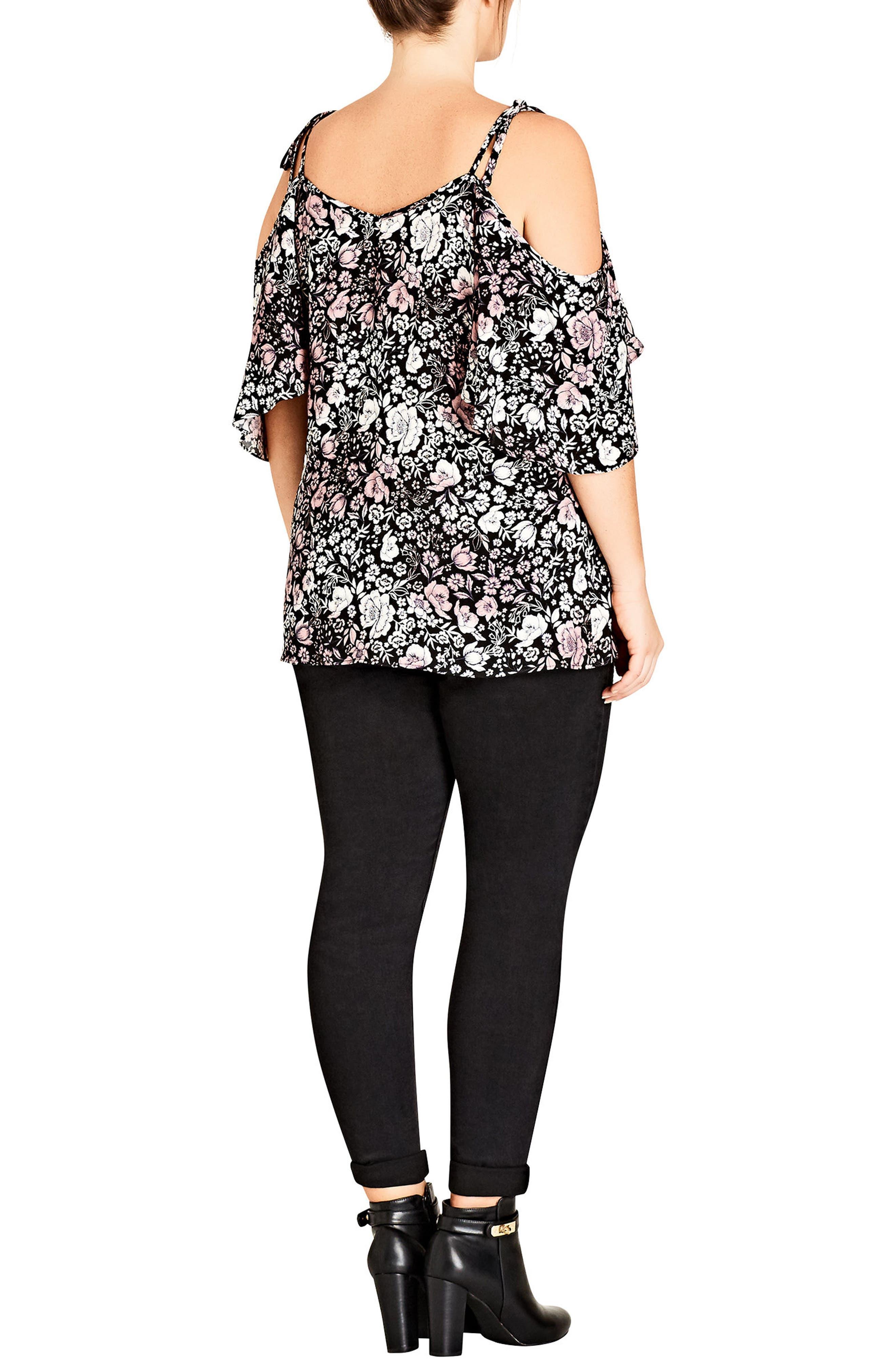 Alternate Image 2  - City Chic Etched Floral Cold Shoulder Top (Plus Size)