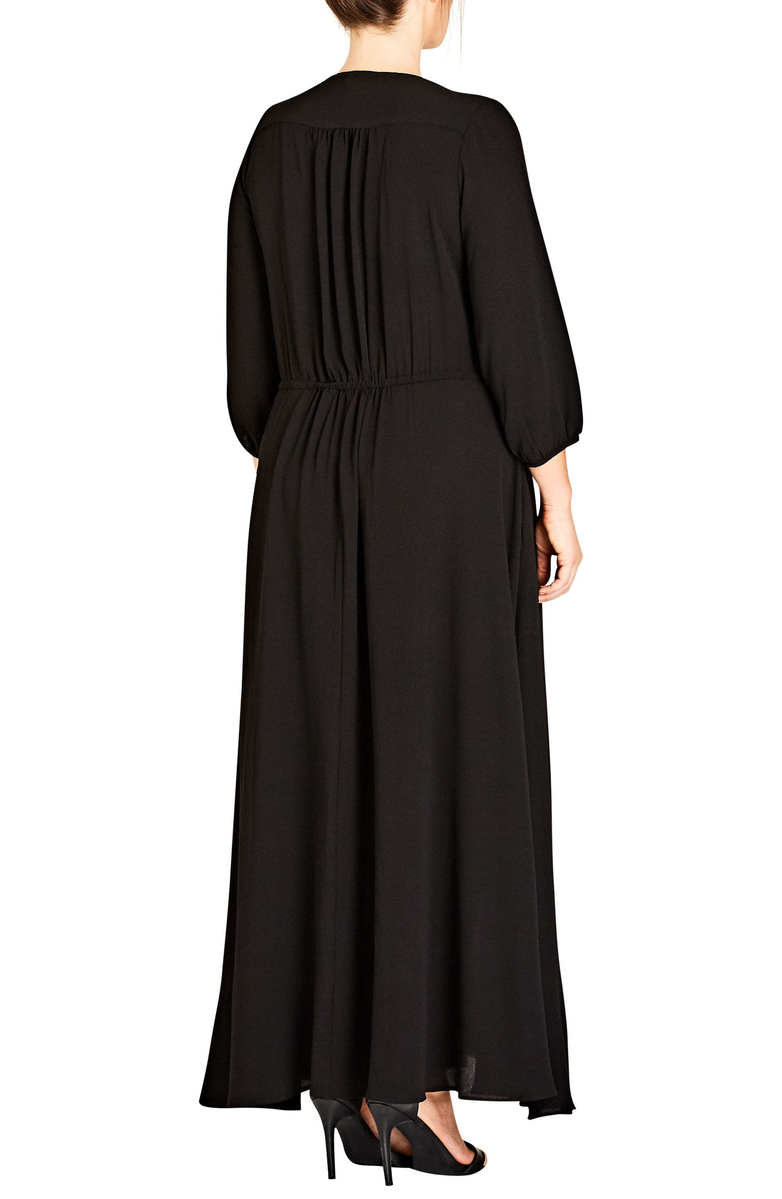 Simple Texture Maxi Dress,                             Alternate thumbnail 2, color,                             Black