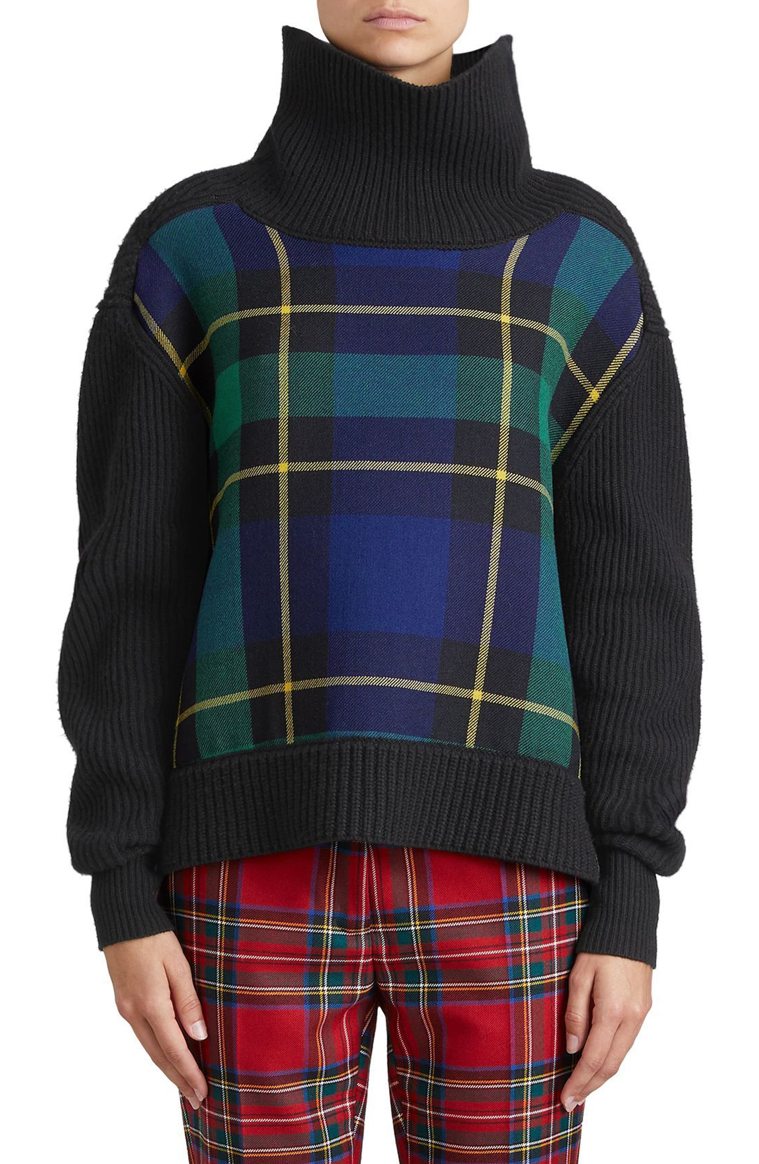 Fiora Check Wool & Cashmere Turtleneck Sweater,                         Main,                         color, Black