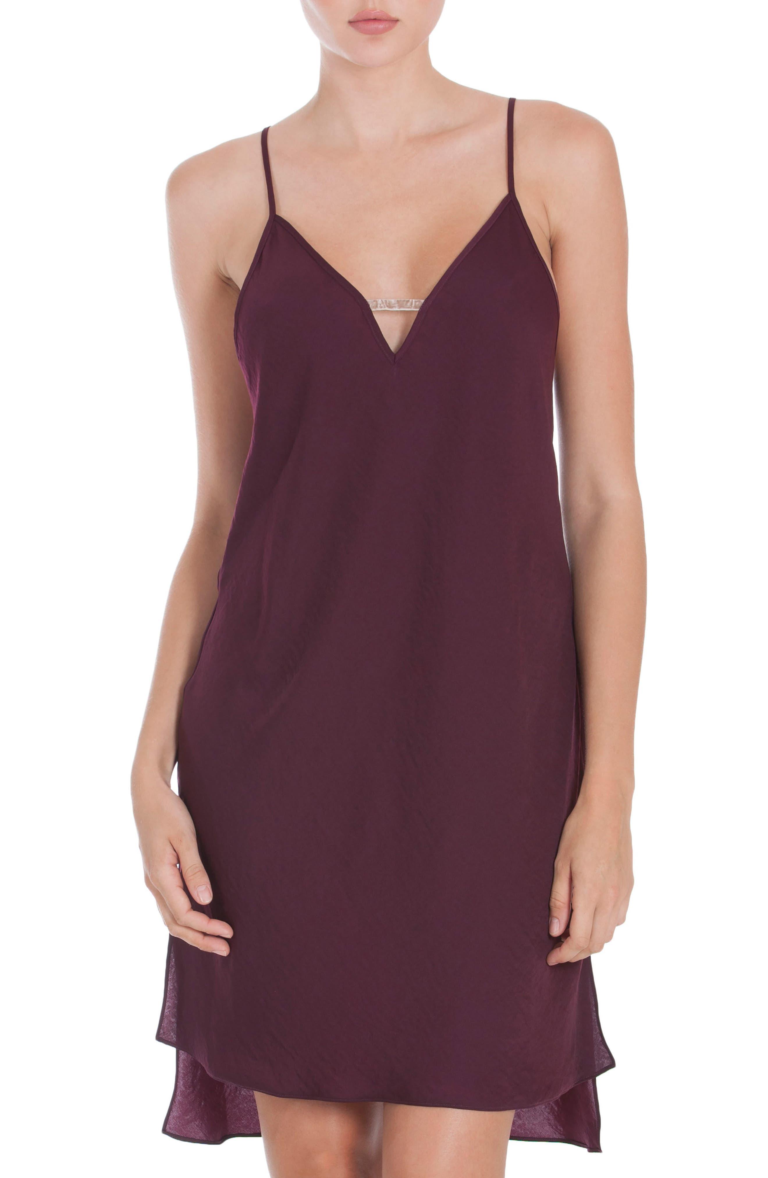 Satin Nightgown,                         Main,                         color, Wine