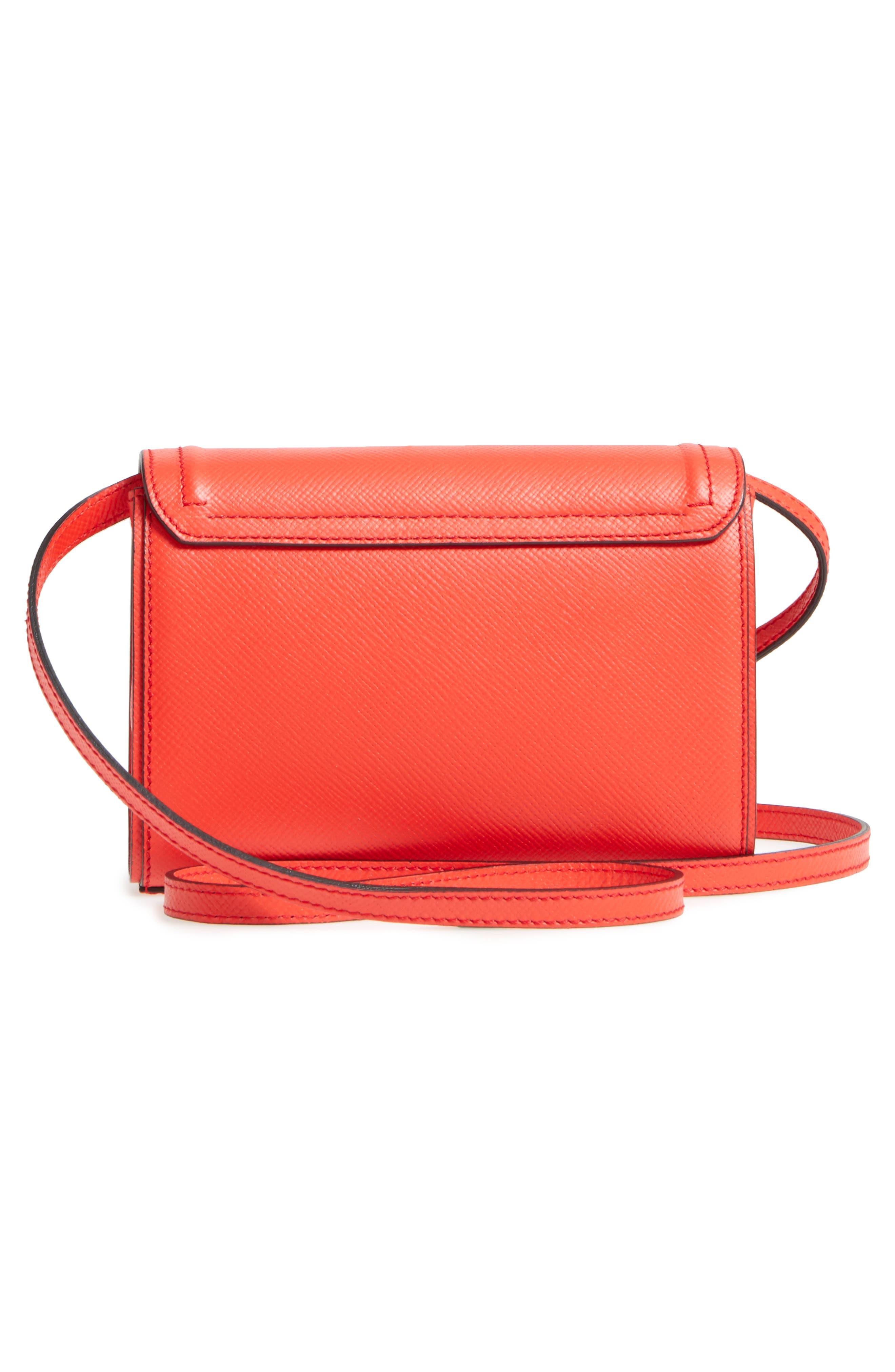 Mini Ilenea Leather Crossbody Bag,                             Alternate thumbnail 3, color,                             Coral Red