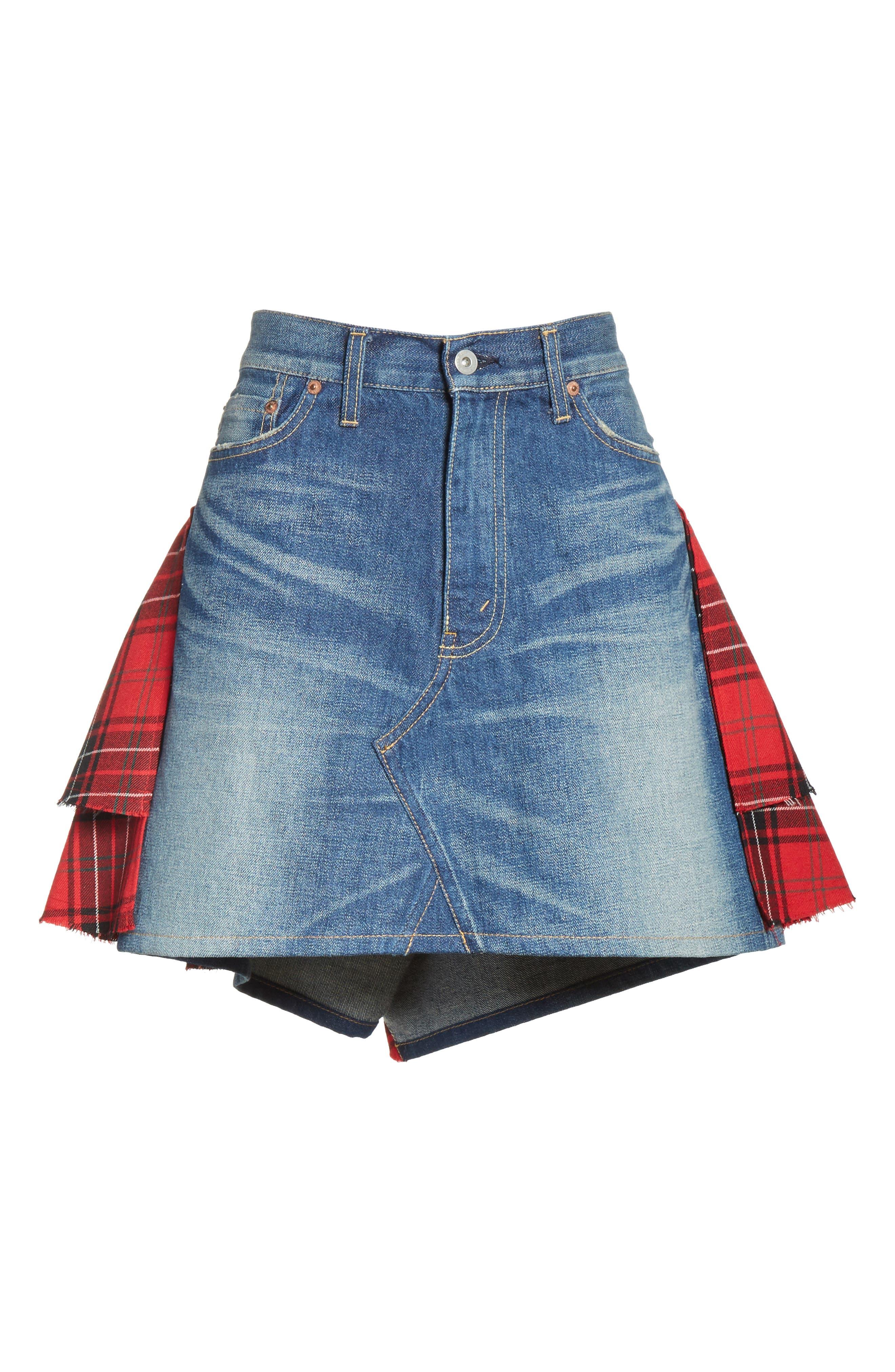 Tartan Back Denim Miniskirt,                             Alternate thumbnail 6, color,                             Indigo X Mix