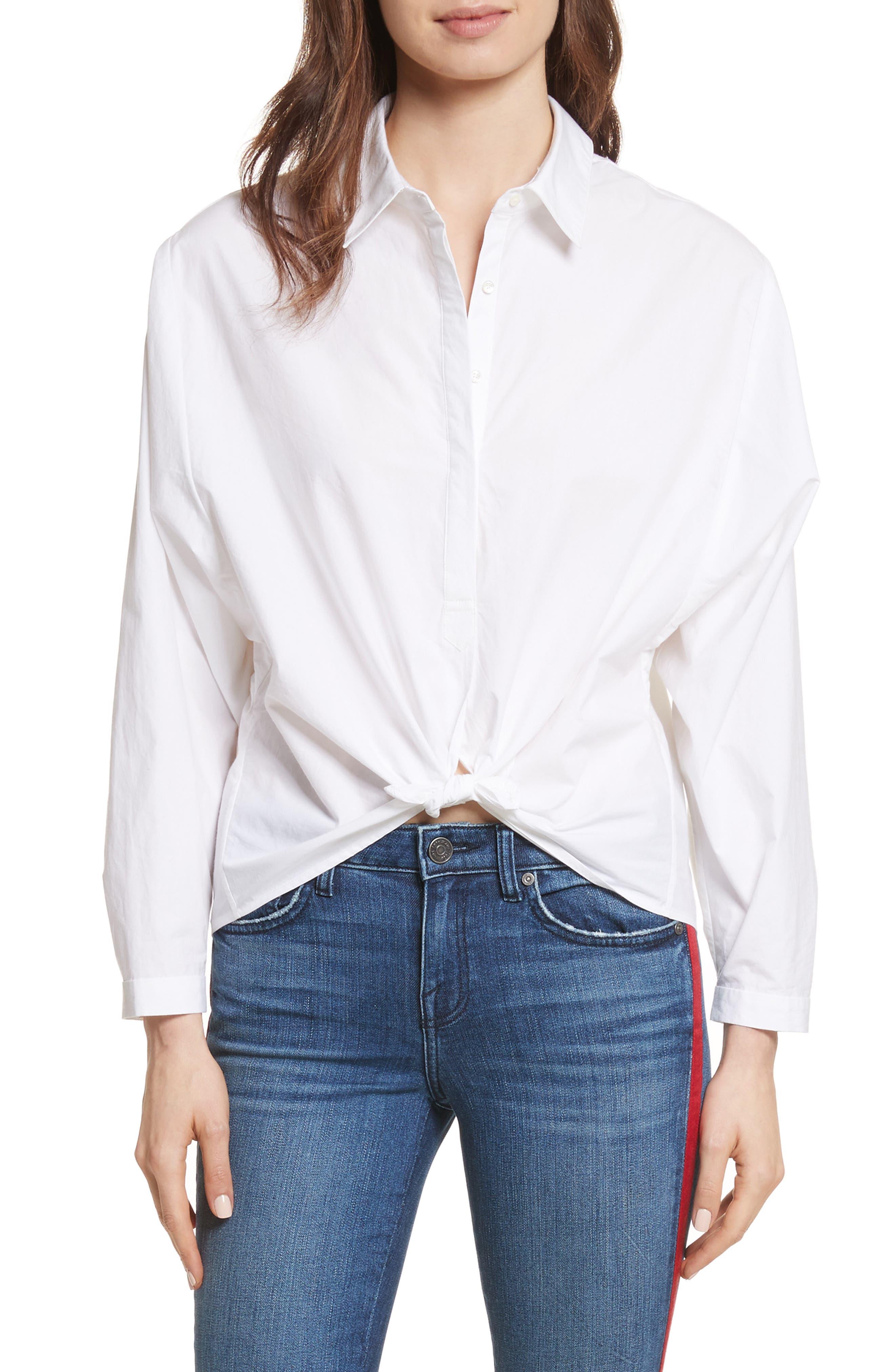 Anjanique B Button Down Cotton Shirt,                         Main,                         color, Clean White