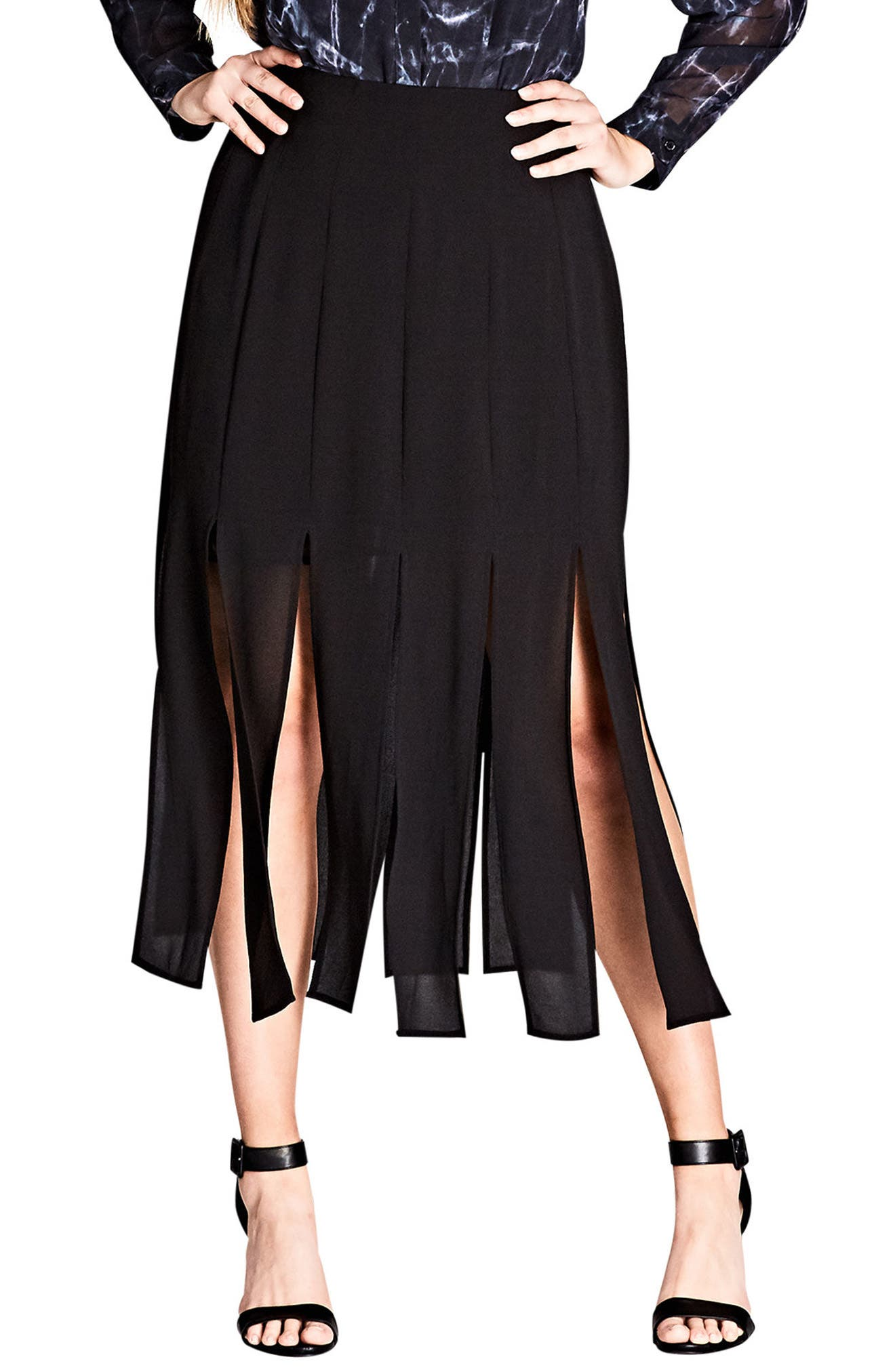 Main Image - City Chic Stuck on You Pleated Maxi Skirt (Plus Size)
