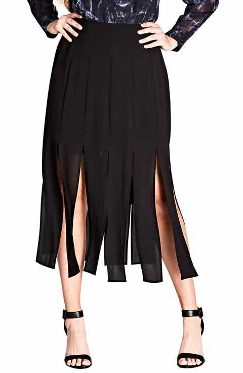 City Chic Stuck on You Pleated Maxi Skirt (Plus Size)