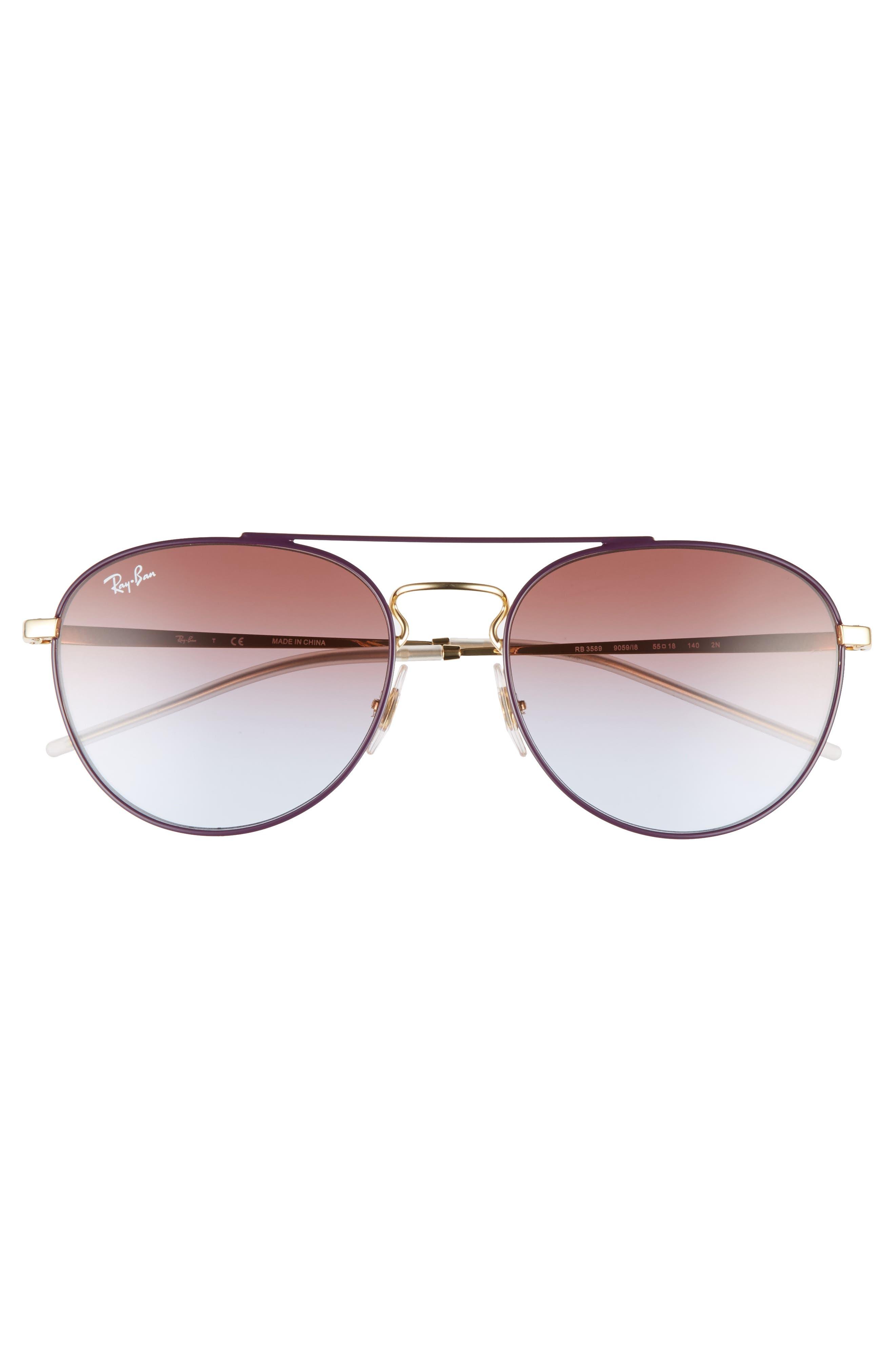 Alternate Image 3  - Ray-Ban 55mm Gradient Lens Round Aviator Sunglasses